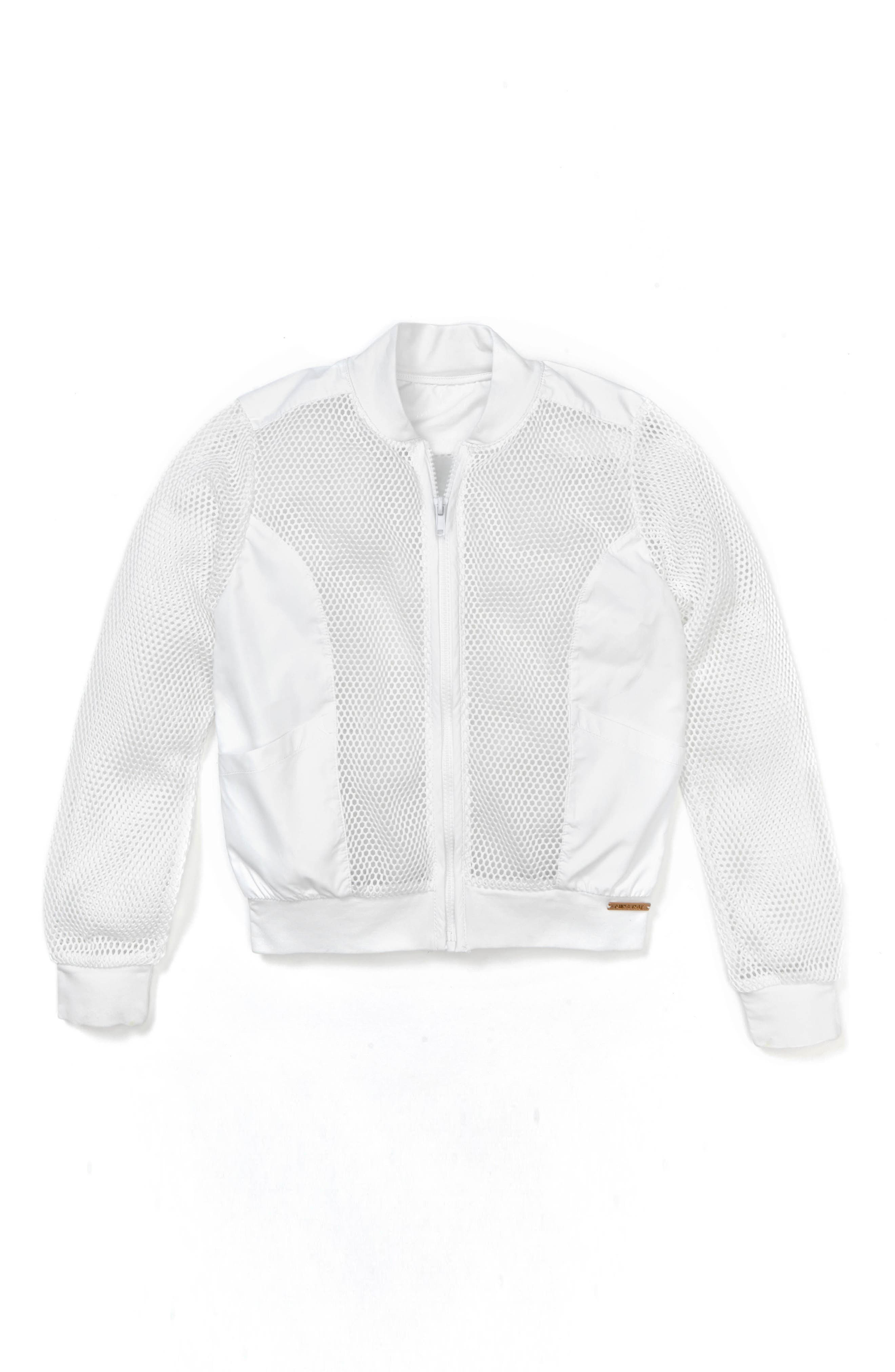 Keya Mesh Bomber Jacket,                             Main thumbnail 1, color,                             White