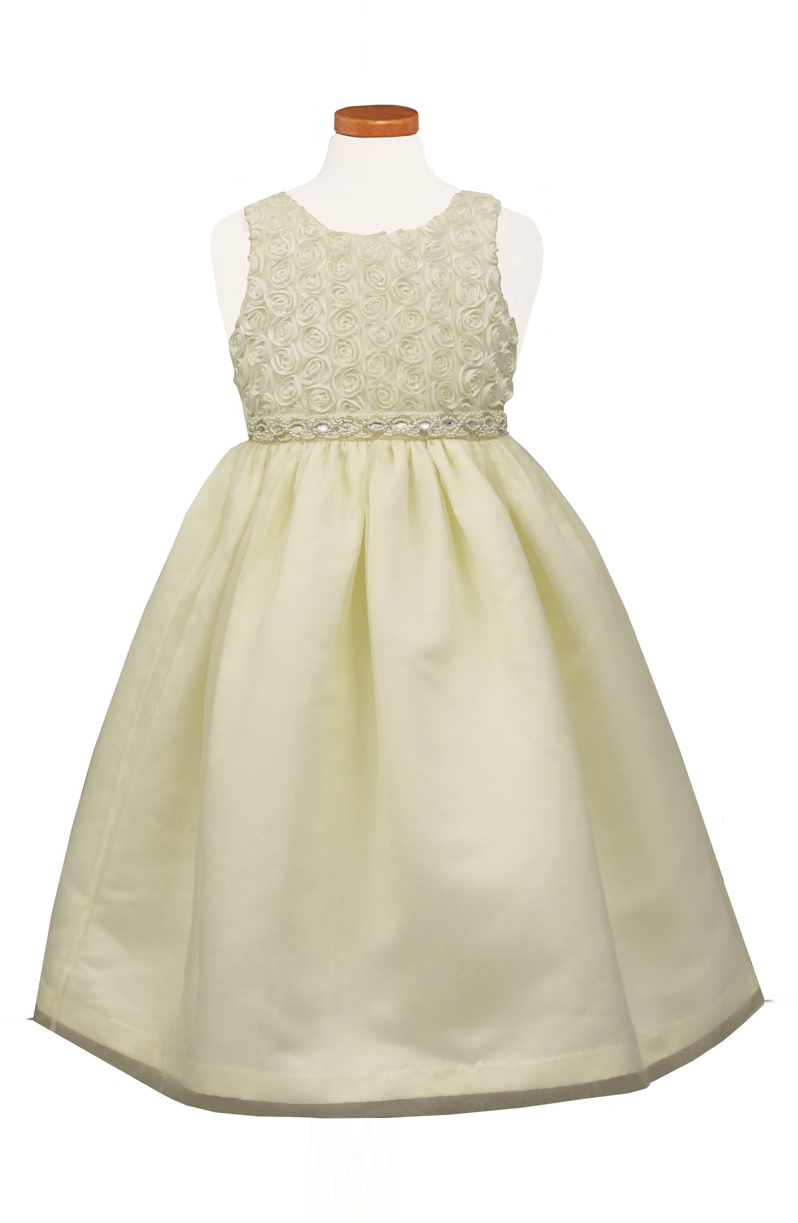Soutache Tea Length Fit & Flare Dress,                             Main thumbnail 1, color,                             White