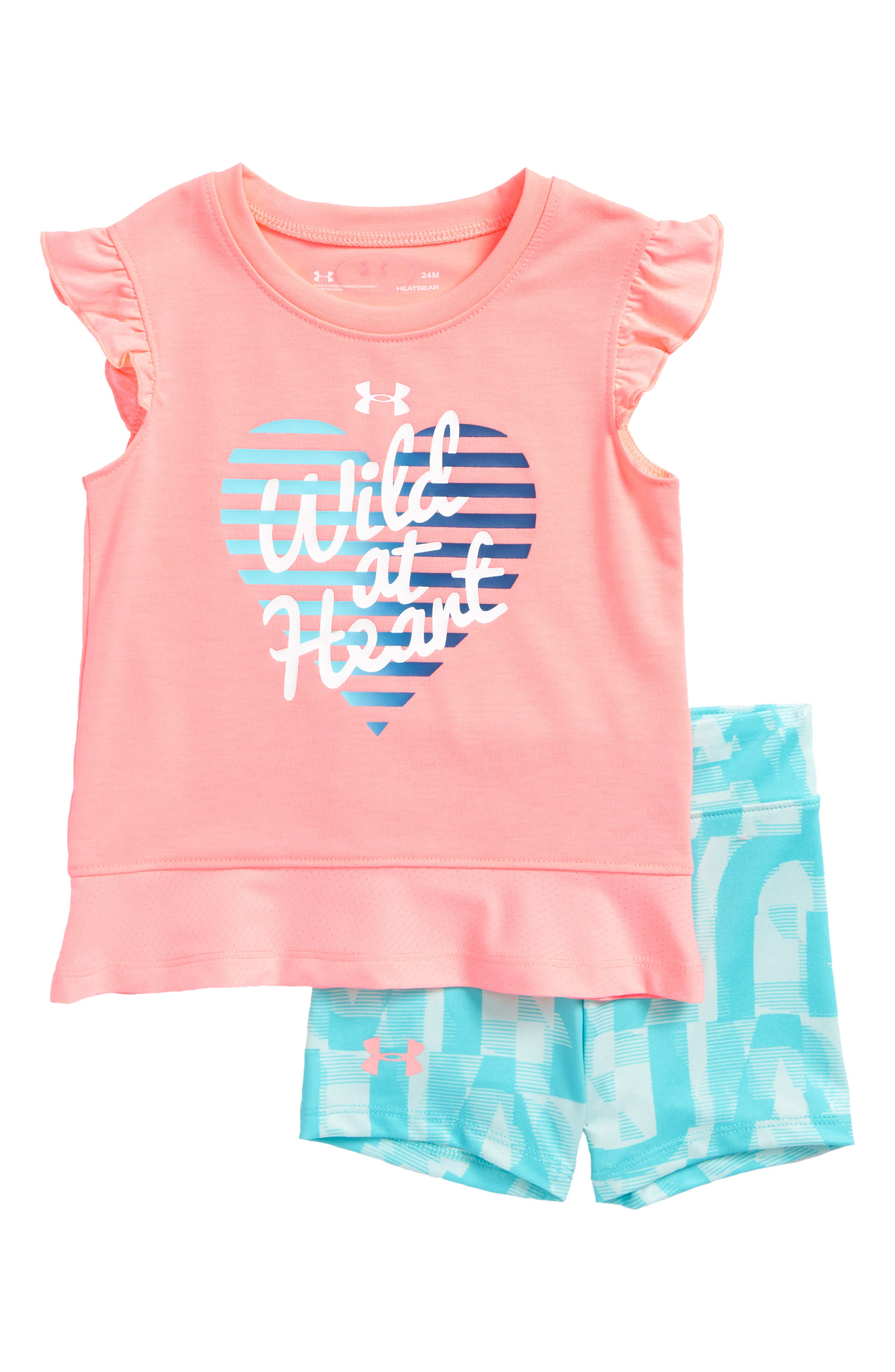 Wild at Heart Flutter Sleeve Tee & Shorts Set,                             Main thumbnail 1, color,                             Cape Coral