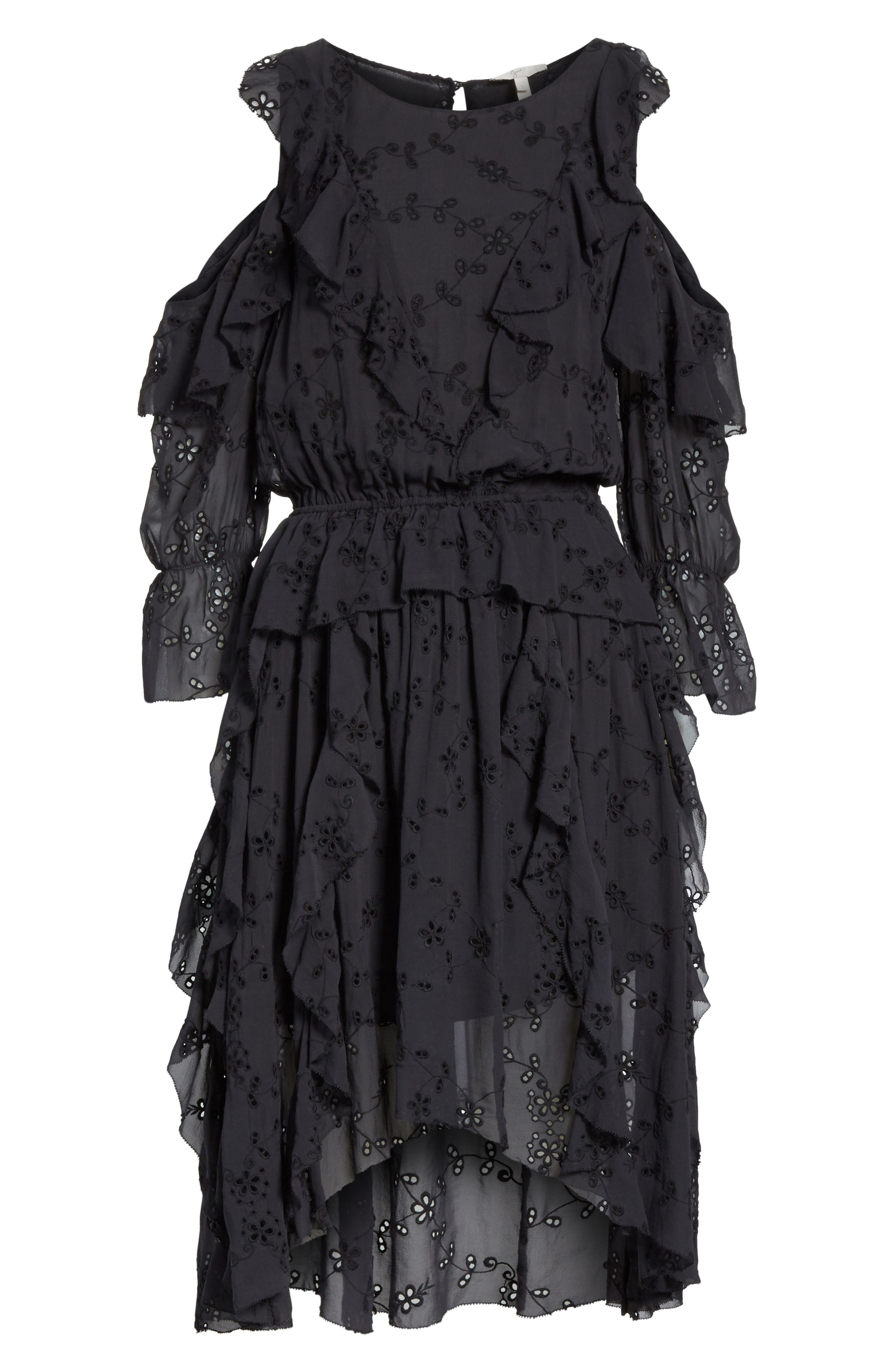 Alpheus Cold Shoulder Ruffled Silk Dress,                             Alternate thumbnail 6, color,                             Caviar/ Caviar