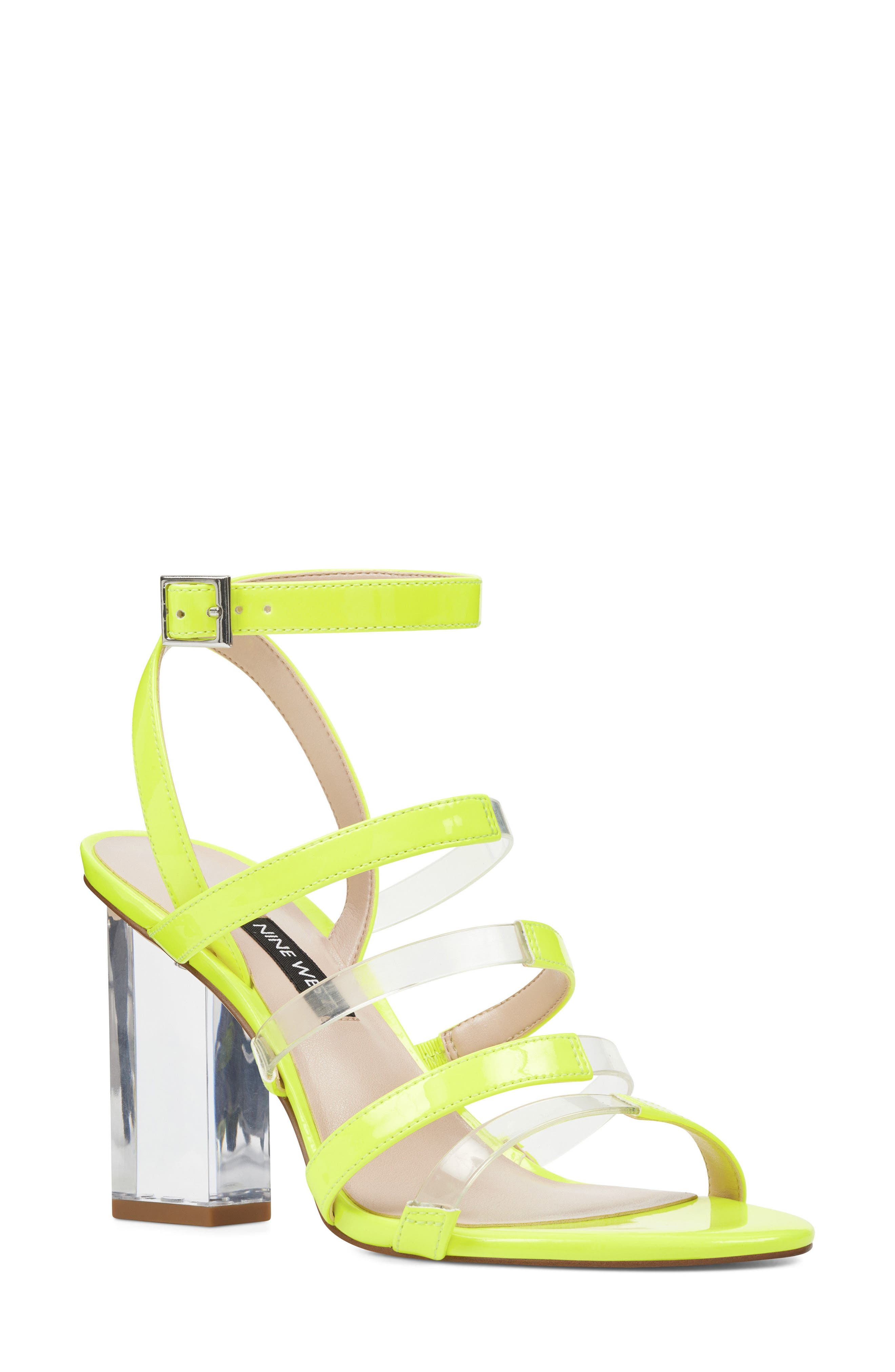 Fazzani Cage Sandal,                             Main thumbnail 1, color,                             Clear/ Yellow Faux Leather