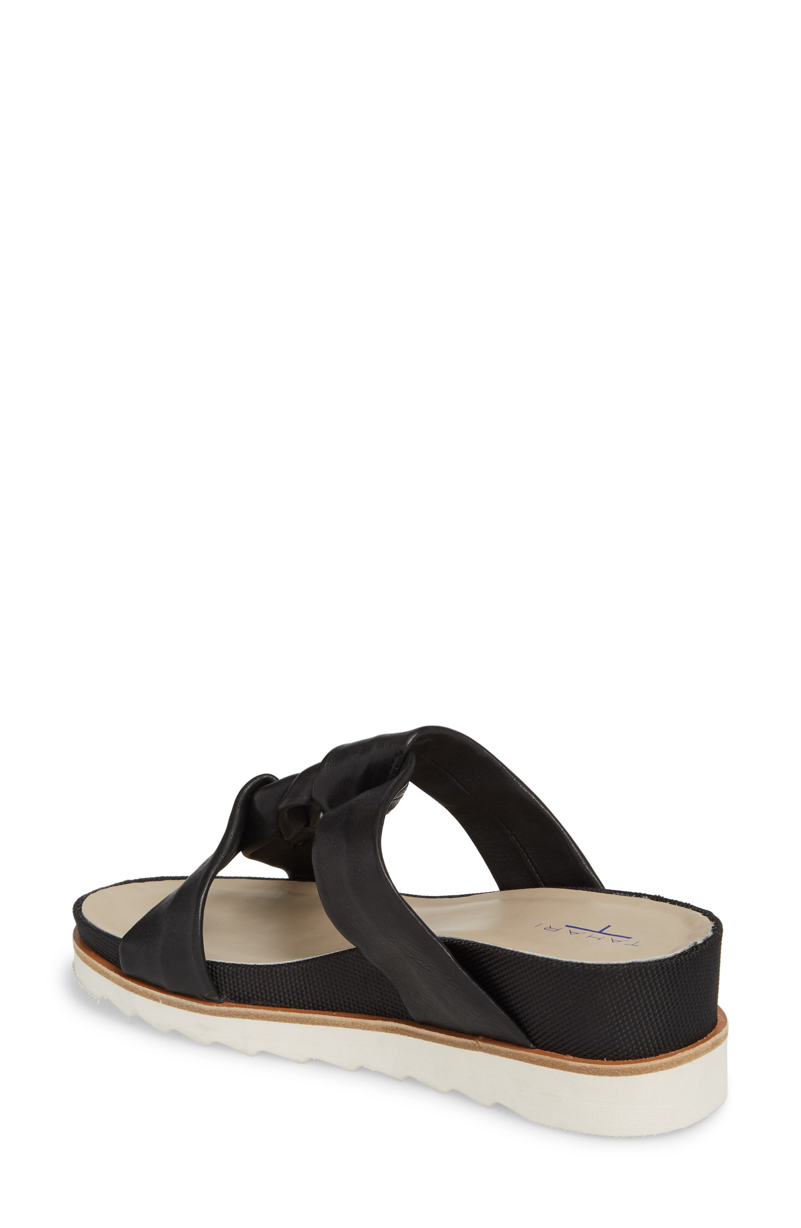 Ginger Slide Sandal,                             Alternate thumbnail 2, color,                             Black Leather