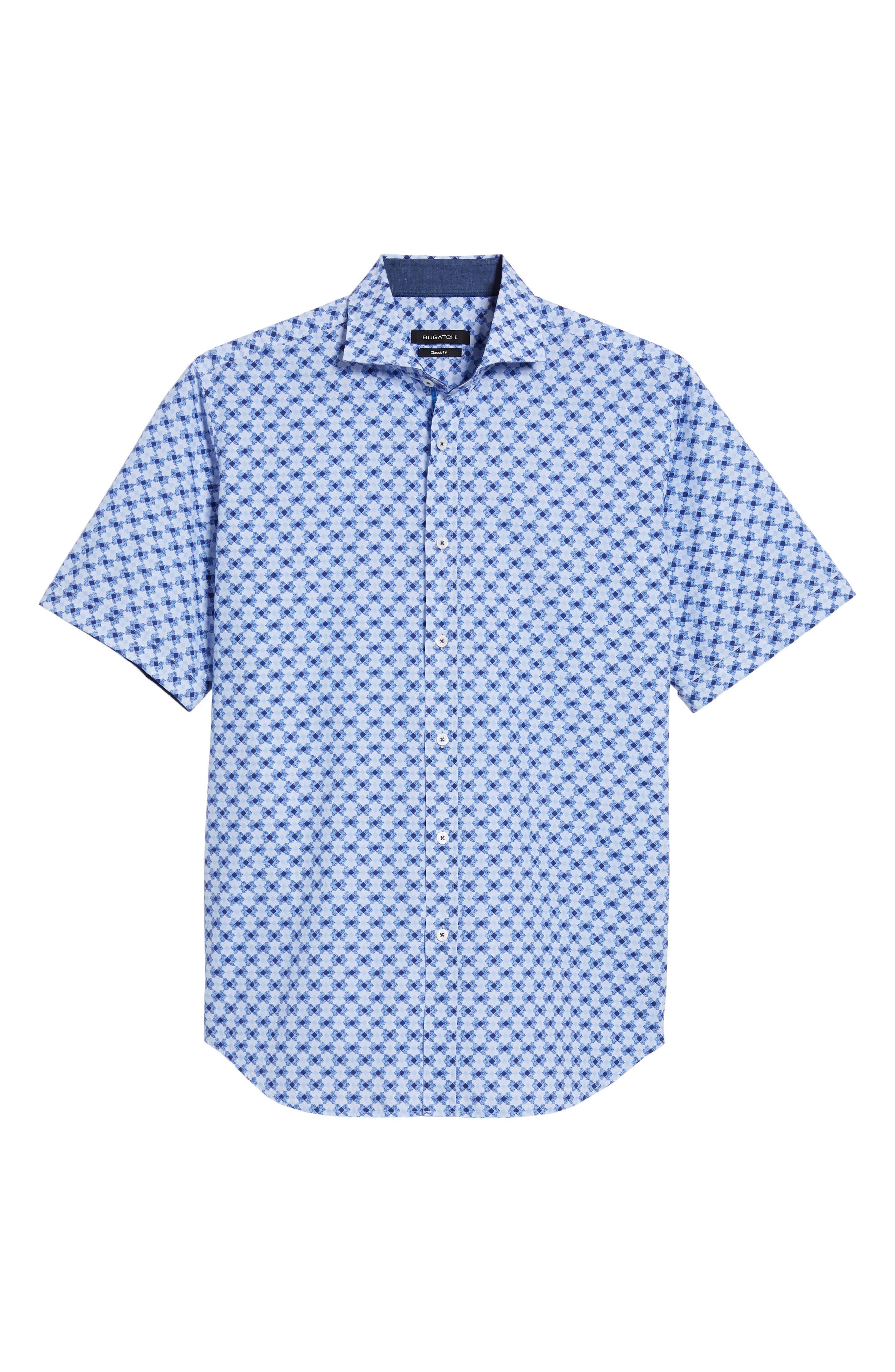 Classic Fit Geo Print Sport Shirt,                             Alternate thumbnail 6, color,                             Sky