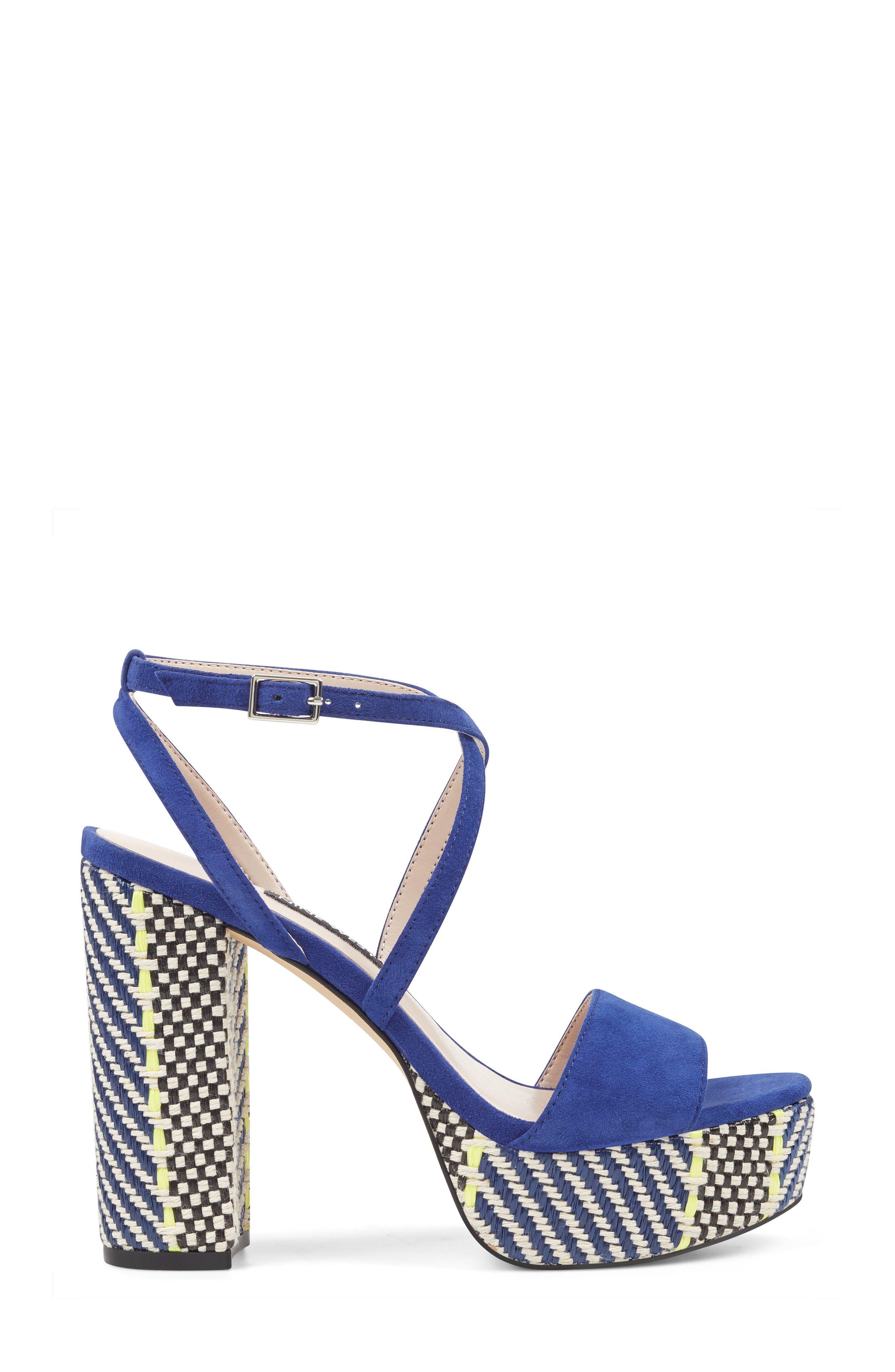 Markando Platform Sandal,                             Alternate thumbnail 3, color,                             Dark Blue Suede