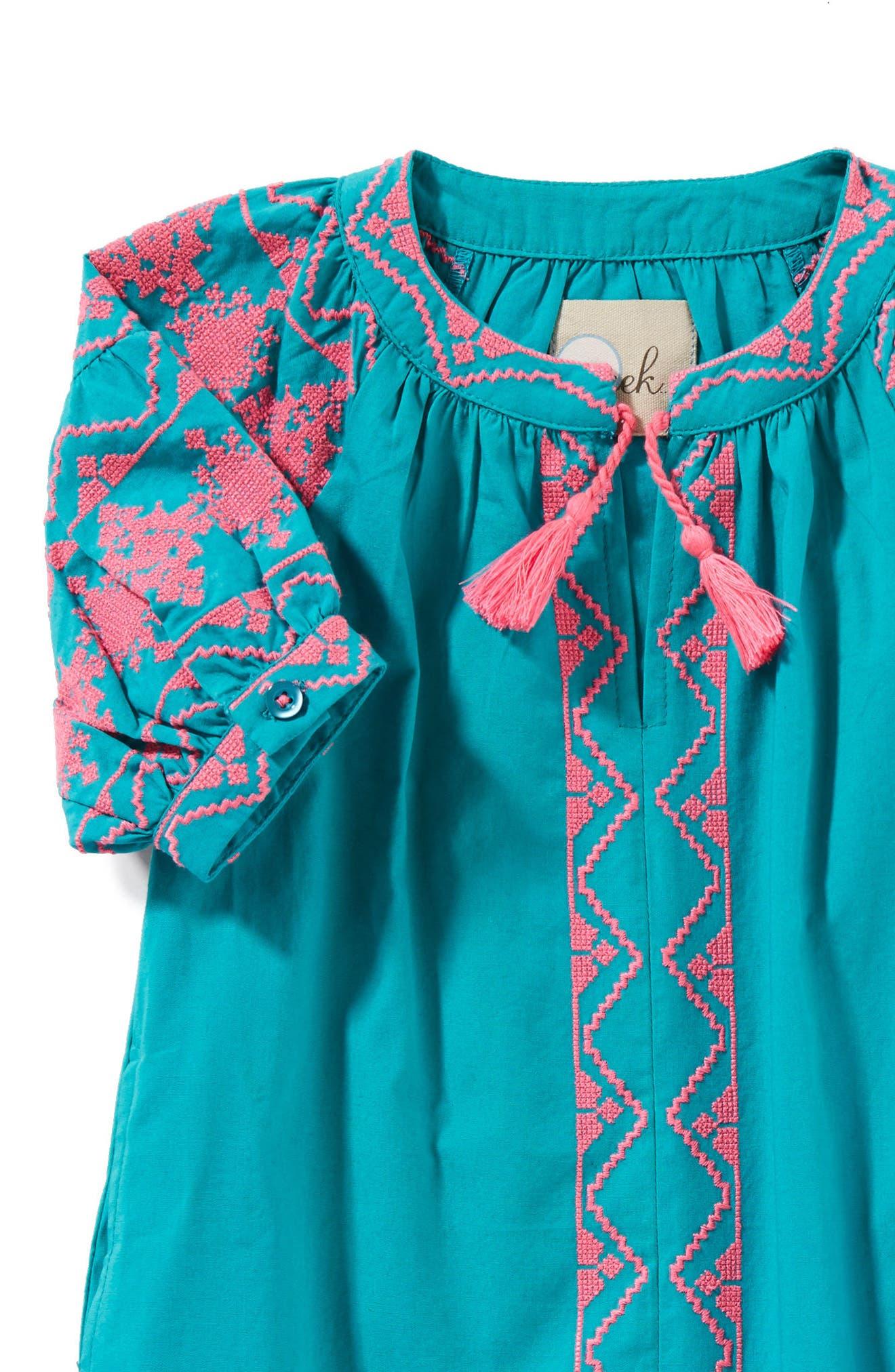 Kellie Embroidered Dress,                             Alternate thumbnail 2, color,                             Teal