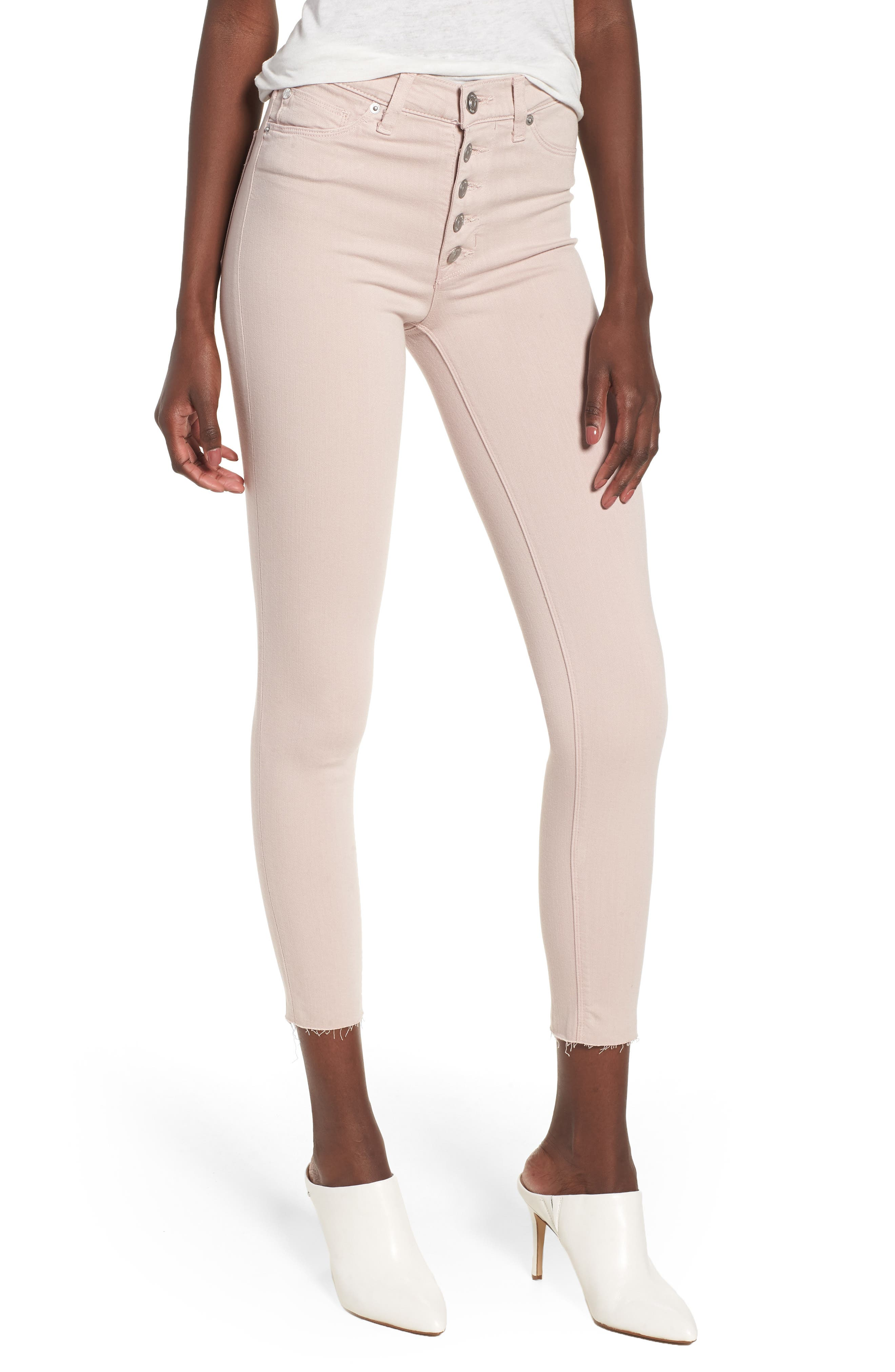 Barbara High Waist Raw Hem Ankle Skinny Jeans,                             Main thumbnail 1, color,                             Blushing