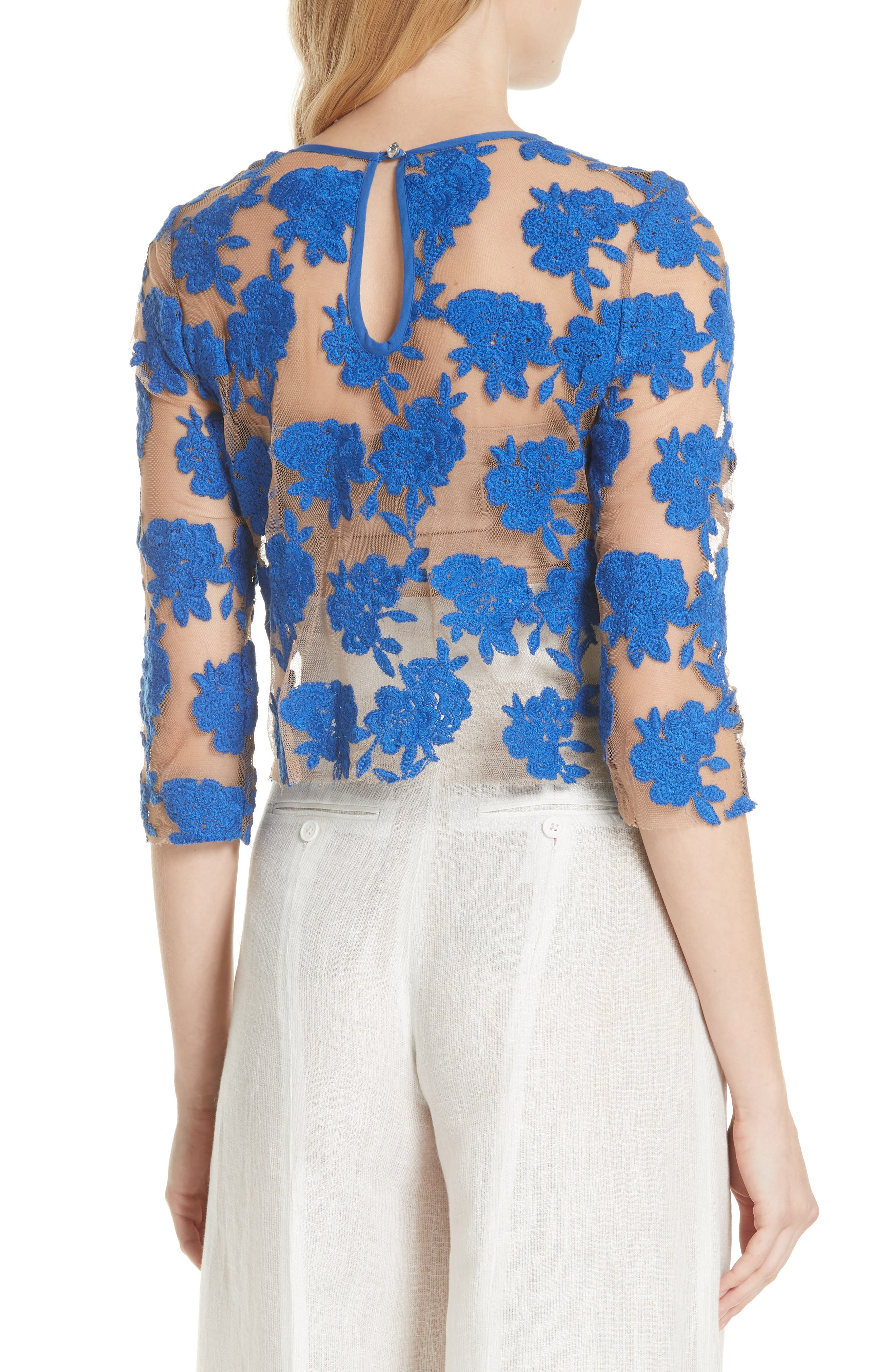 Sheer Embroidered Floral Top,                             Alternate thumbnail 2, color,                             Blue Pigment