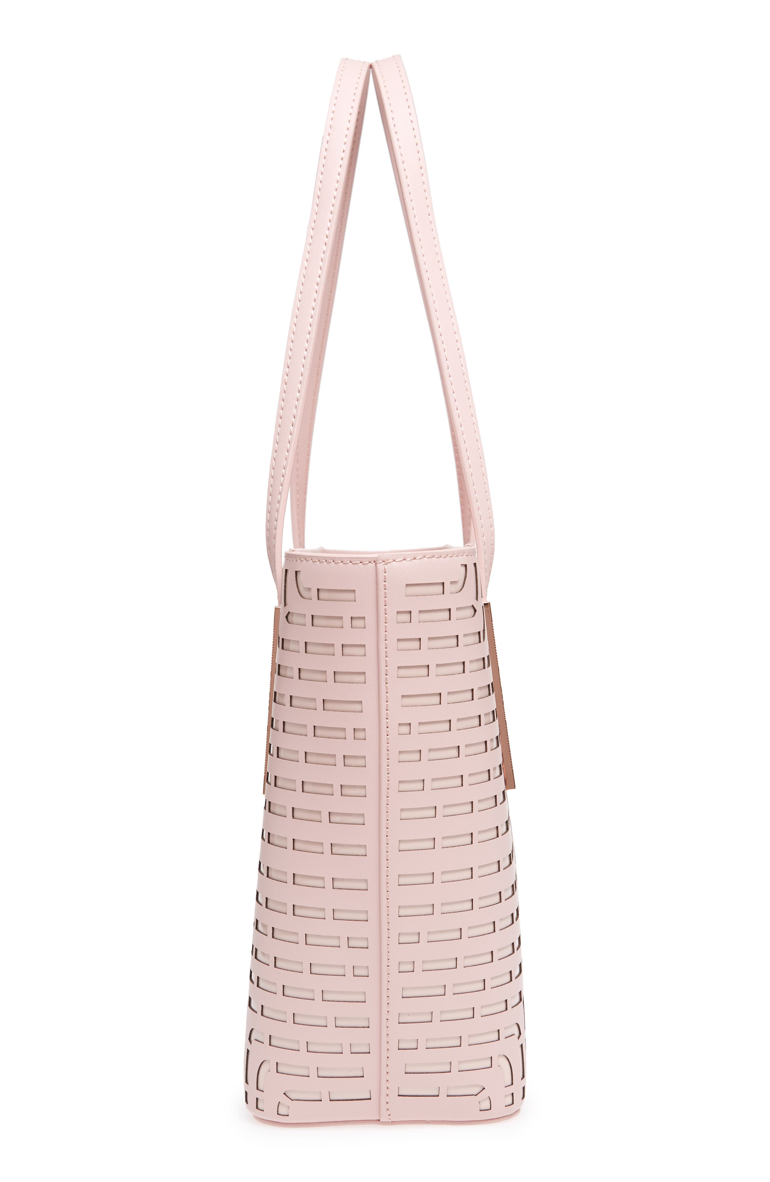 Breanna Perforated Bow Leather Shopper,                             Alternate thumbnail 5, color,                             Light Pink