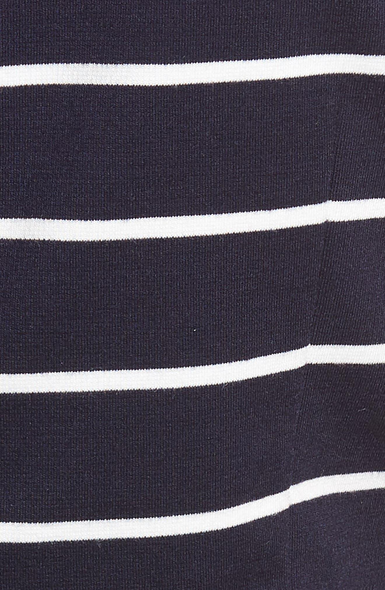Stripe Ponte Fit & Flare Dress,                             Alternate thumbnail 6, color,                             Navy- White Stripe