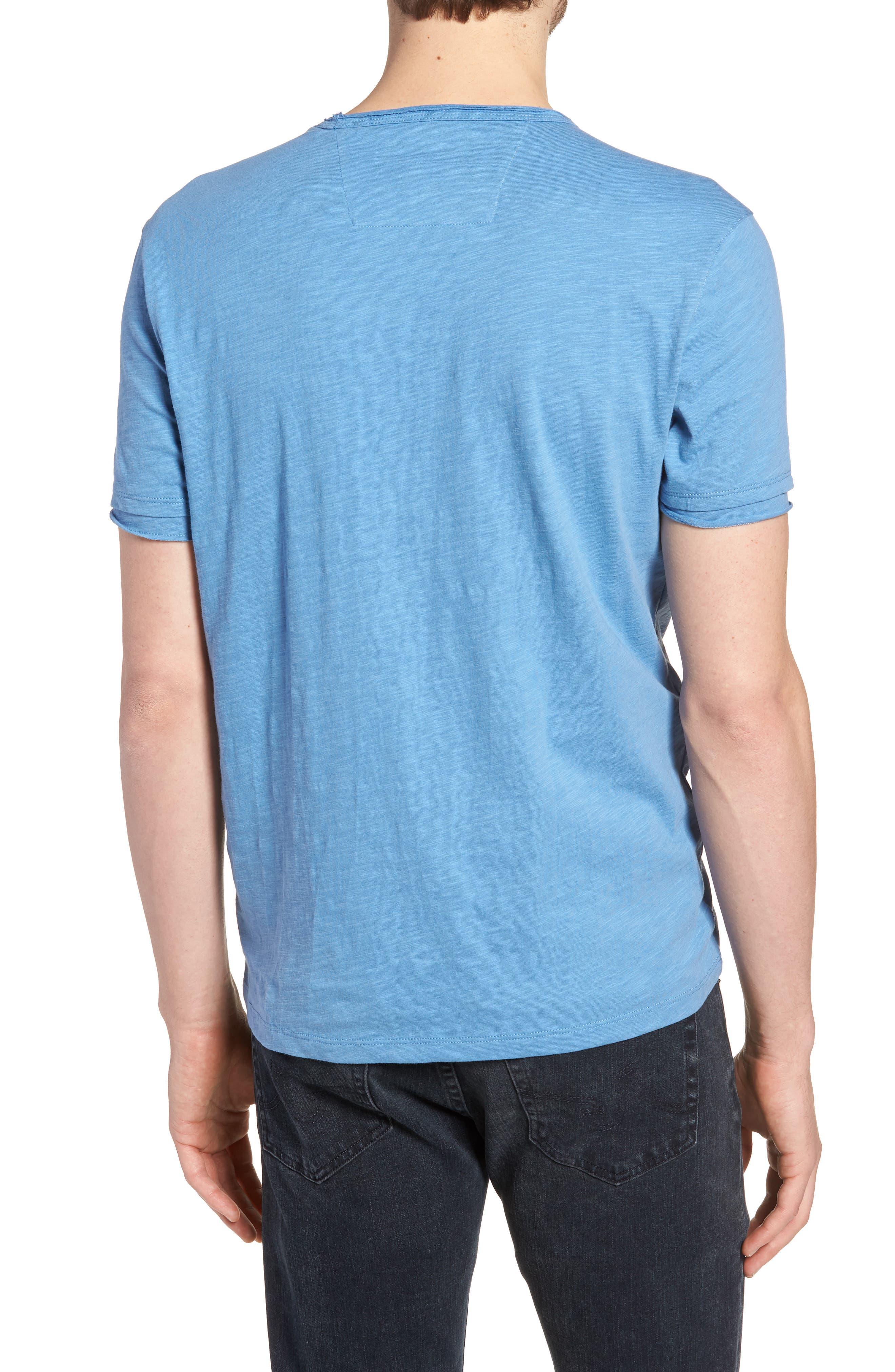 Slim Fit Slubbed V-Neck T-Shirt,                             Alternate thumbnail 2, color,                             Petrol Blue