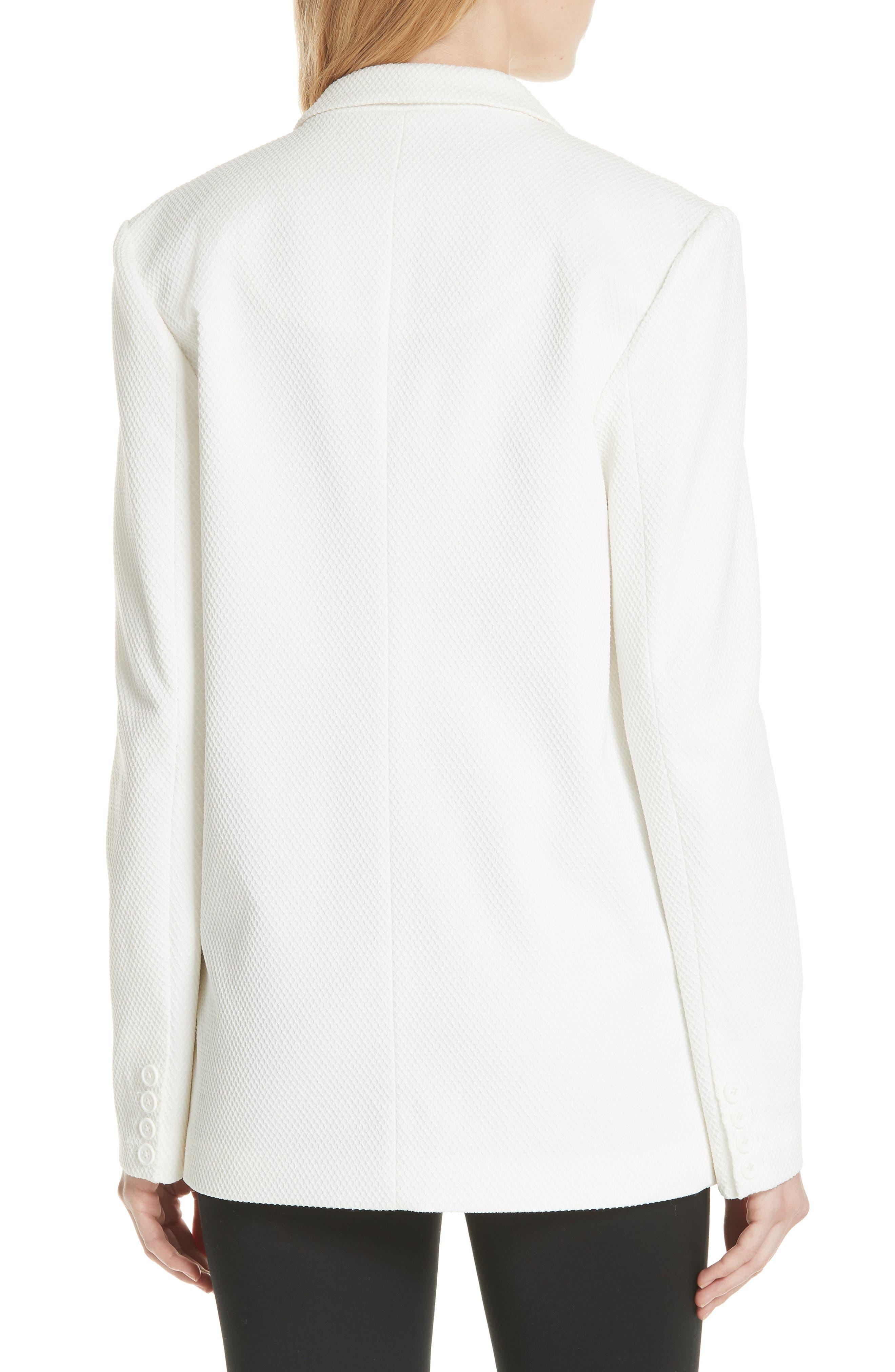 Textured Stretch Cotton Blend Blazer,                             Alternate thumbnail 2, color,                             Soft White