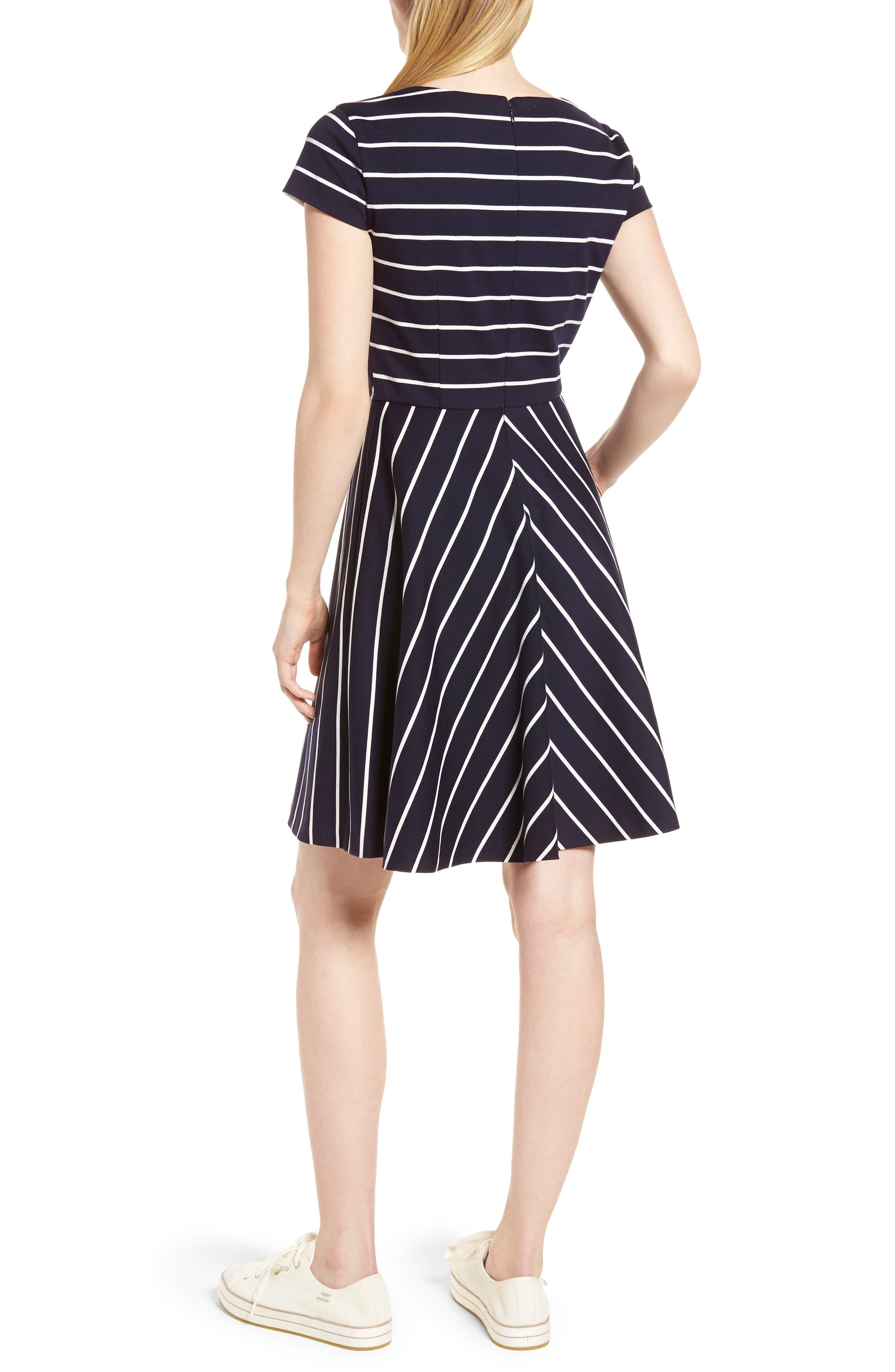 Stripe Ponte Fit & Flare Dress,                             Alternate thumbnail 2, color,                             Navy- White Stripe