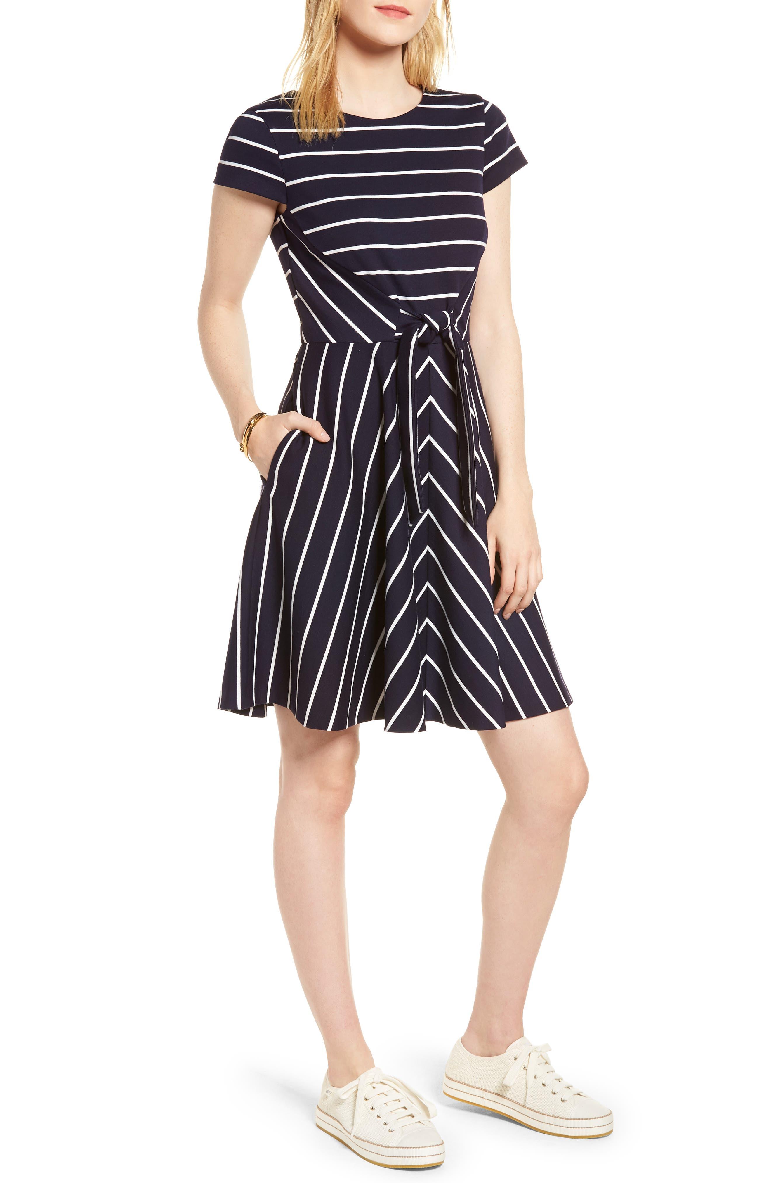 Stripe Ponte Fit & Flare Dress,                             Main thumbnail 1, color,                             Navy- White Stripe