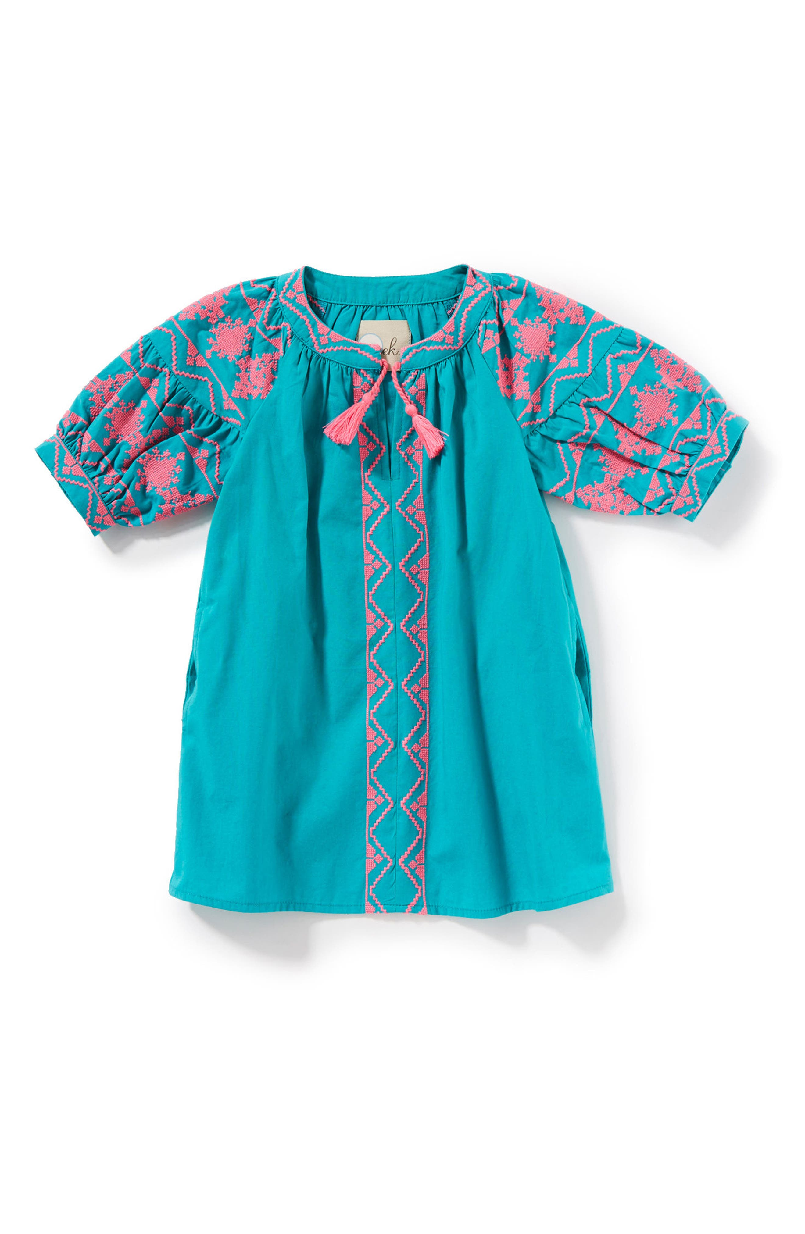 Kellie Embroidered Dress,                             Main thumbnail 1, color,                             Teal