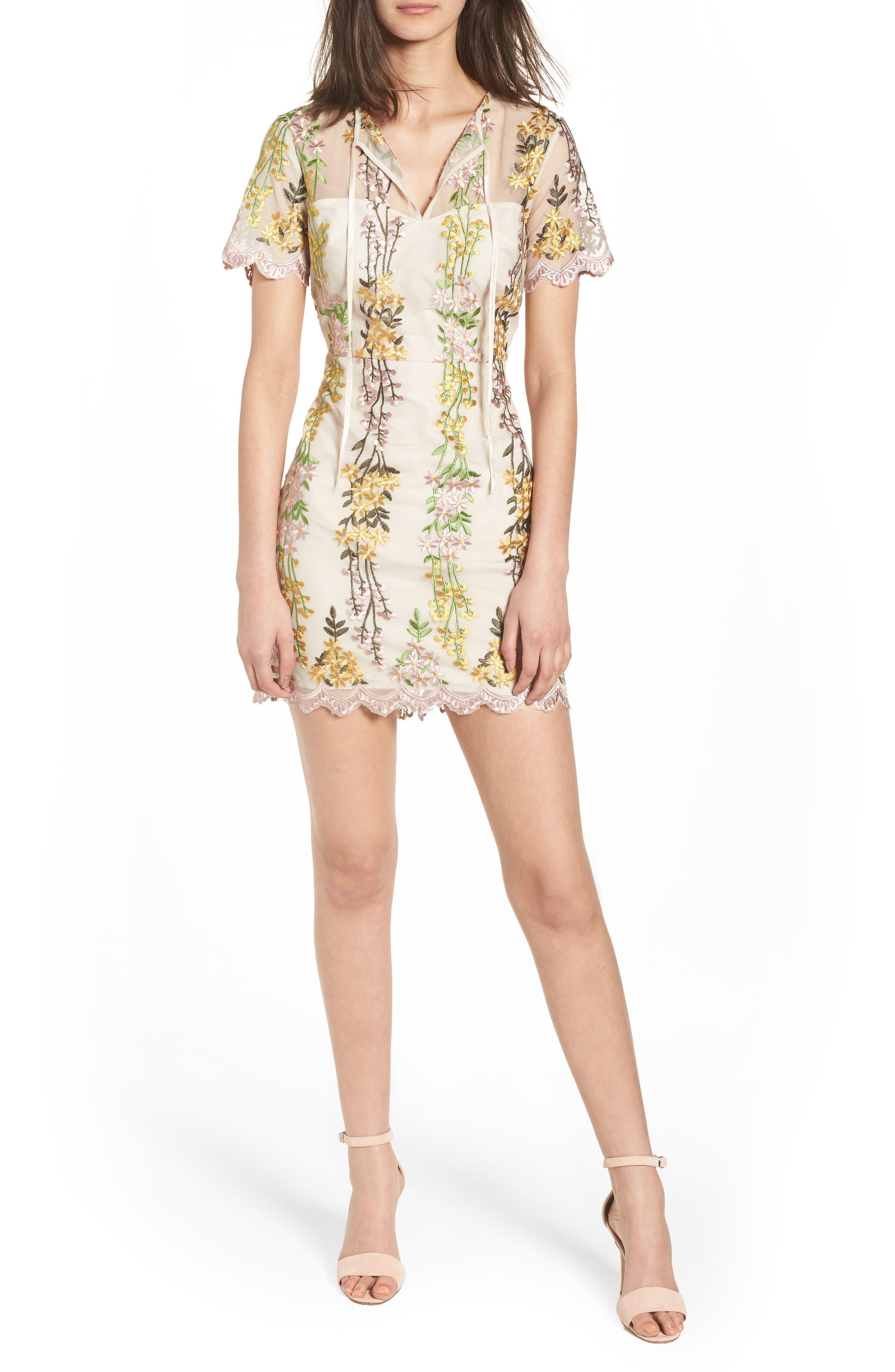 Gram Embroidered Minidress,                         Main,                         color, Soft Beige