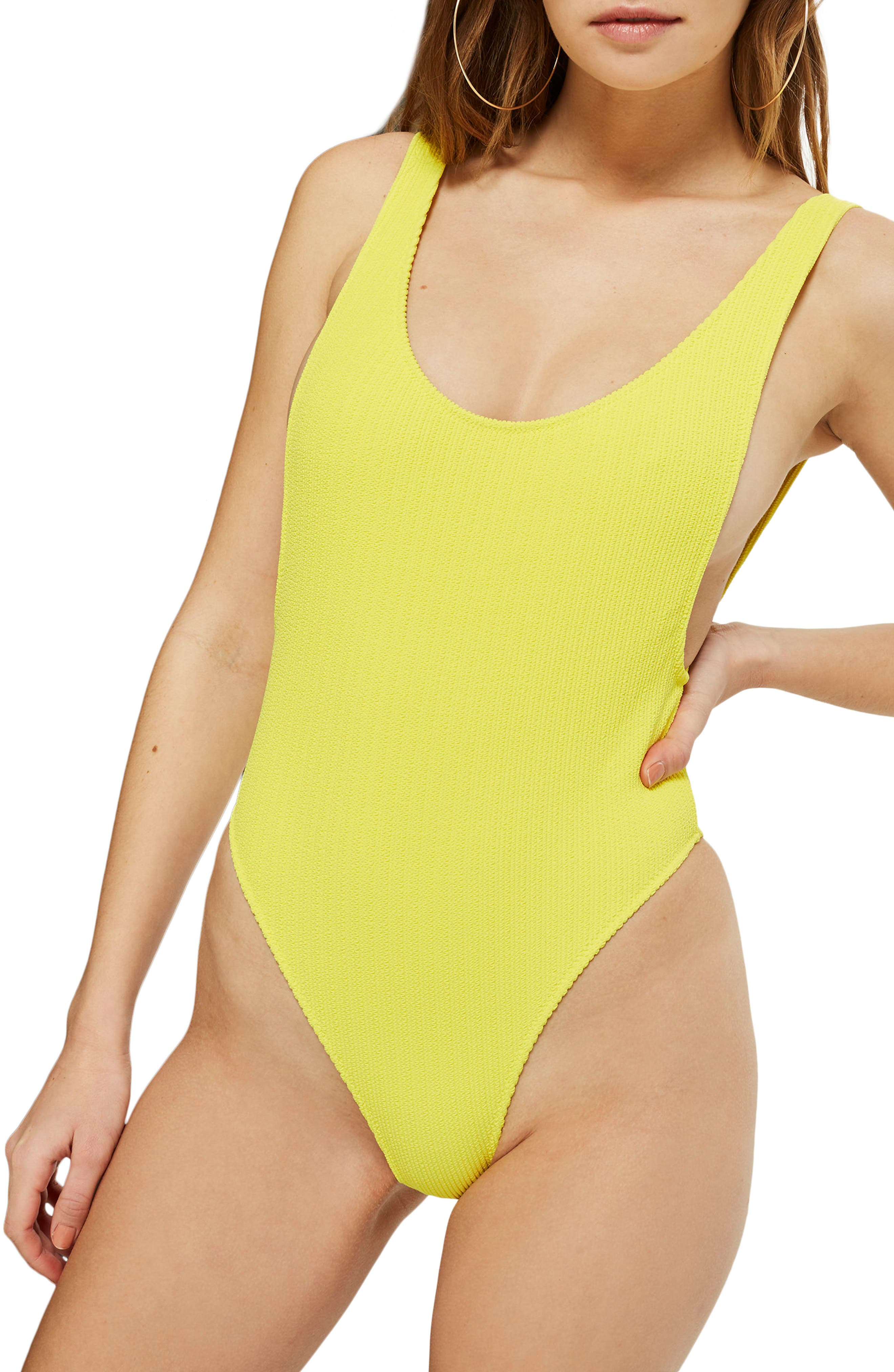 Scoop Neck Crinkle One-Piece Swimsuit,                         Main,                         color, Yellow
