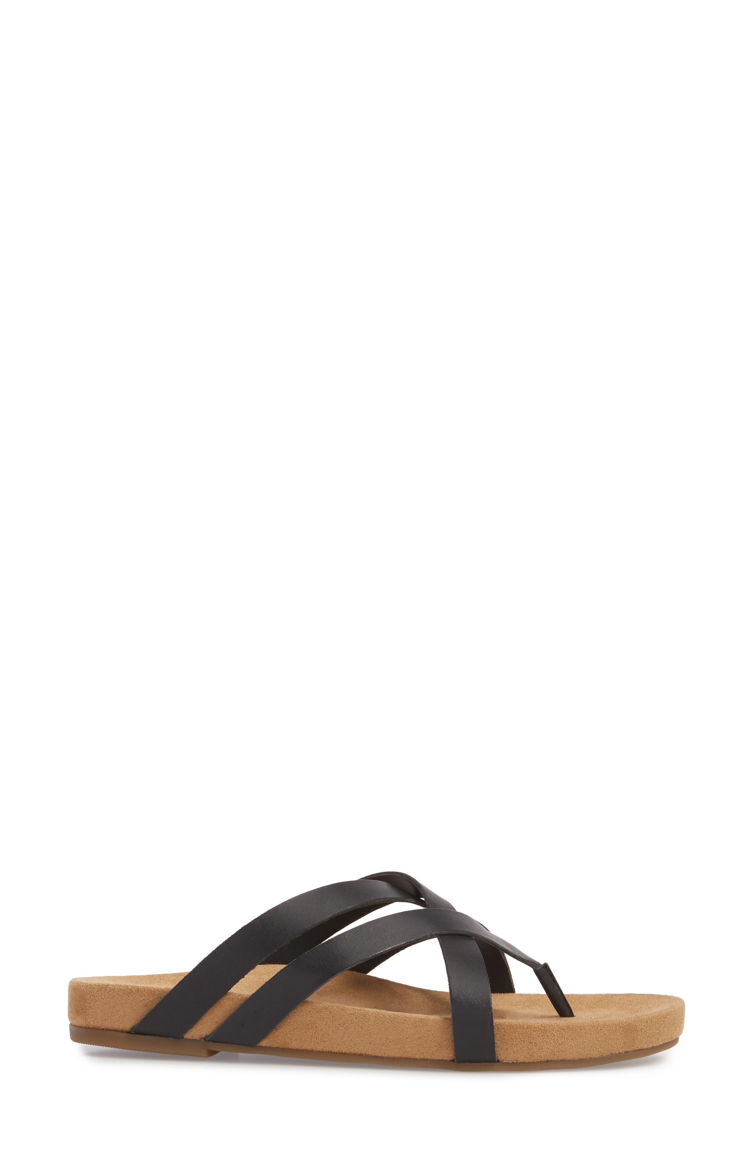 Fillima Flip Flop,                             Alternate thumbnail 3, color,                             Black Leather