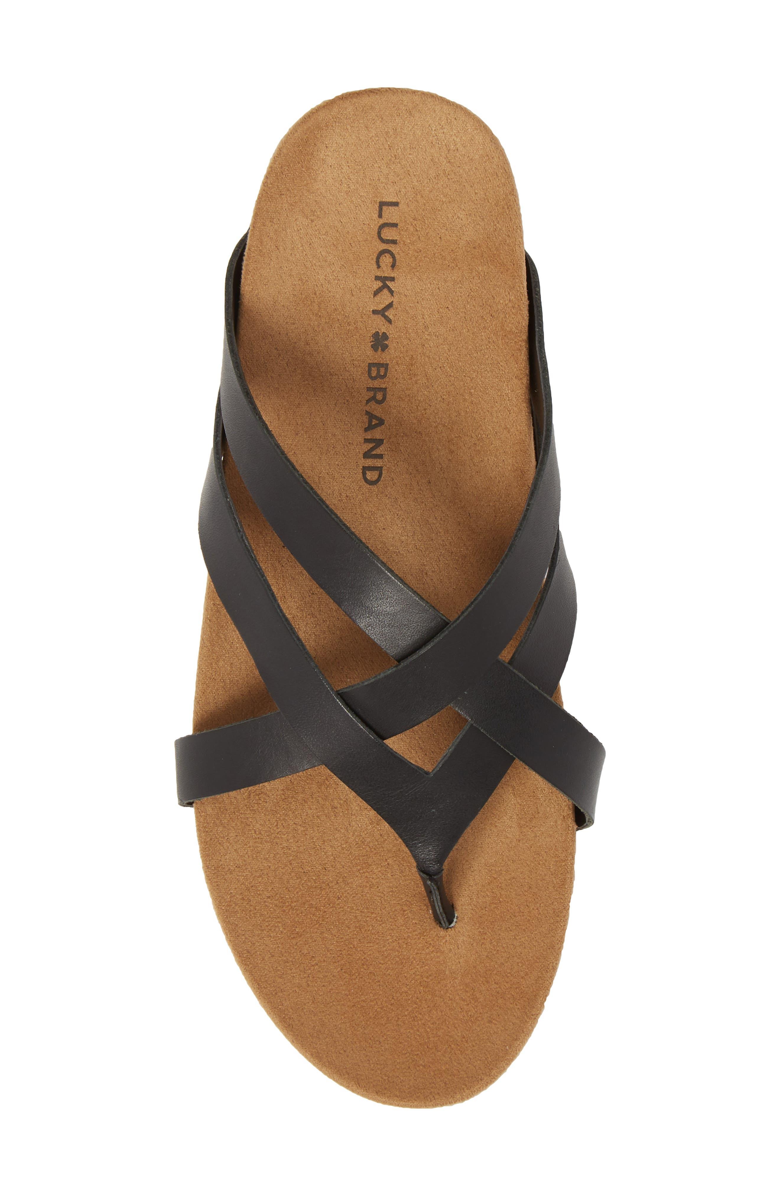 Fillima Flip Flop,                             Alternate thumbnail 5, color,                             Black Leather