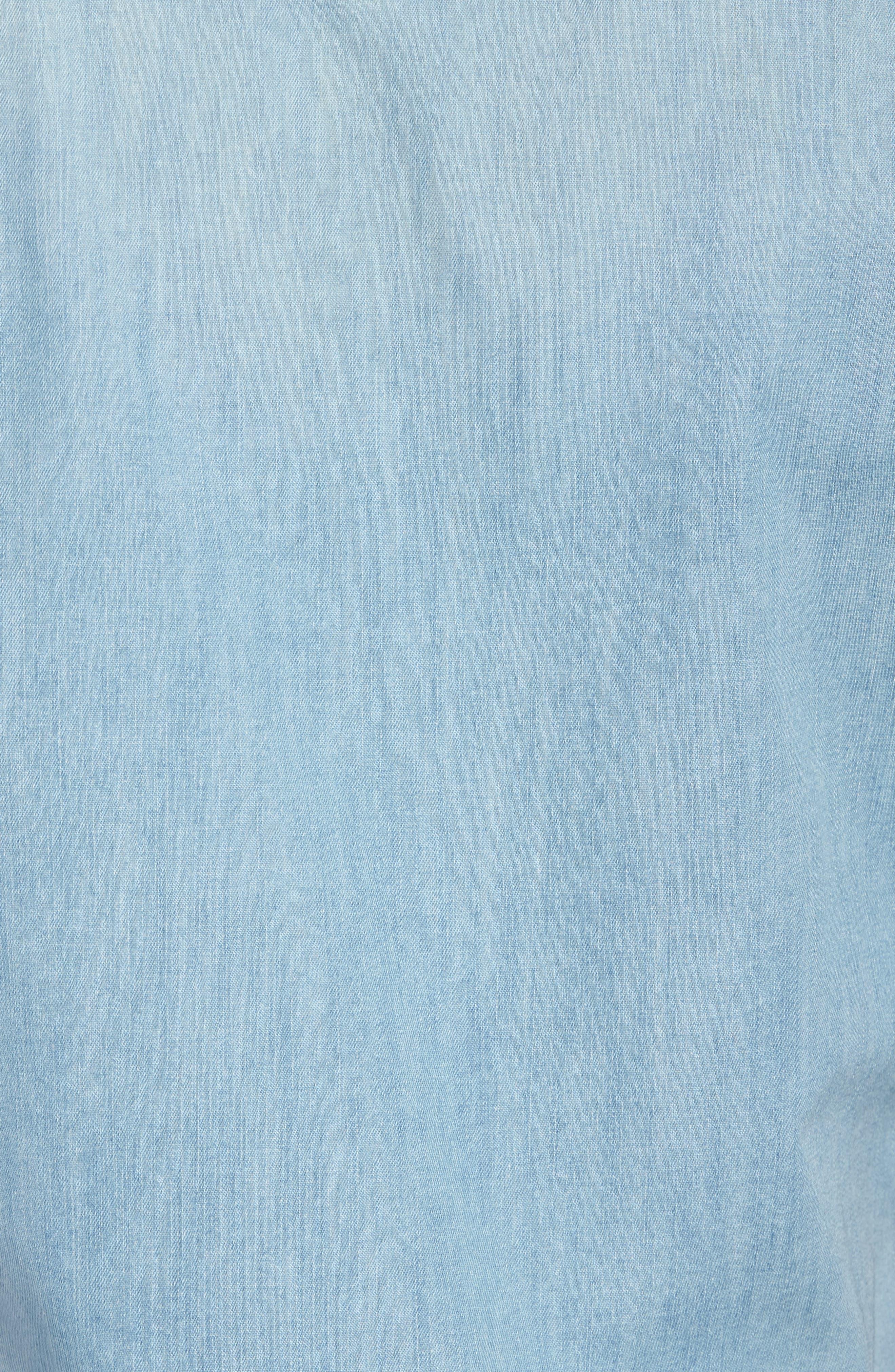 Slim Fit Western Denim Shirt,                             Alternate thumbnail 5, color,                             Blue Light Vintage Wash