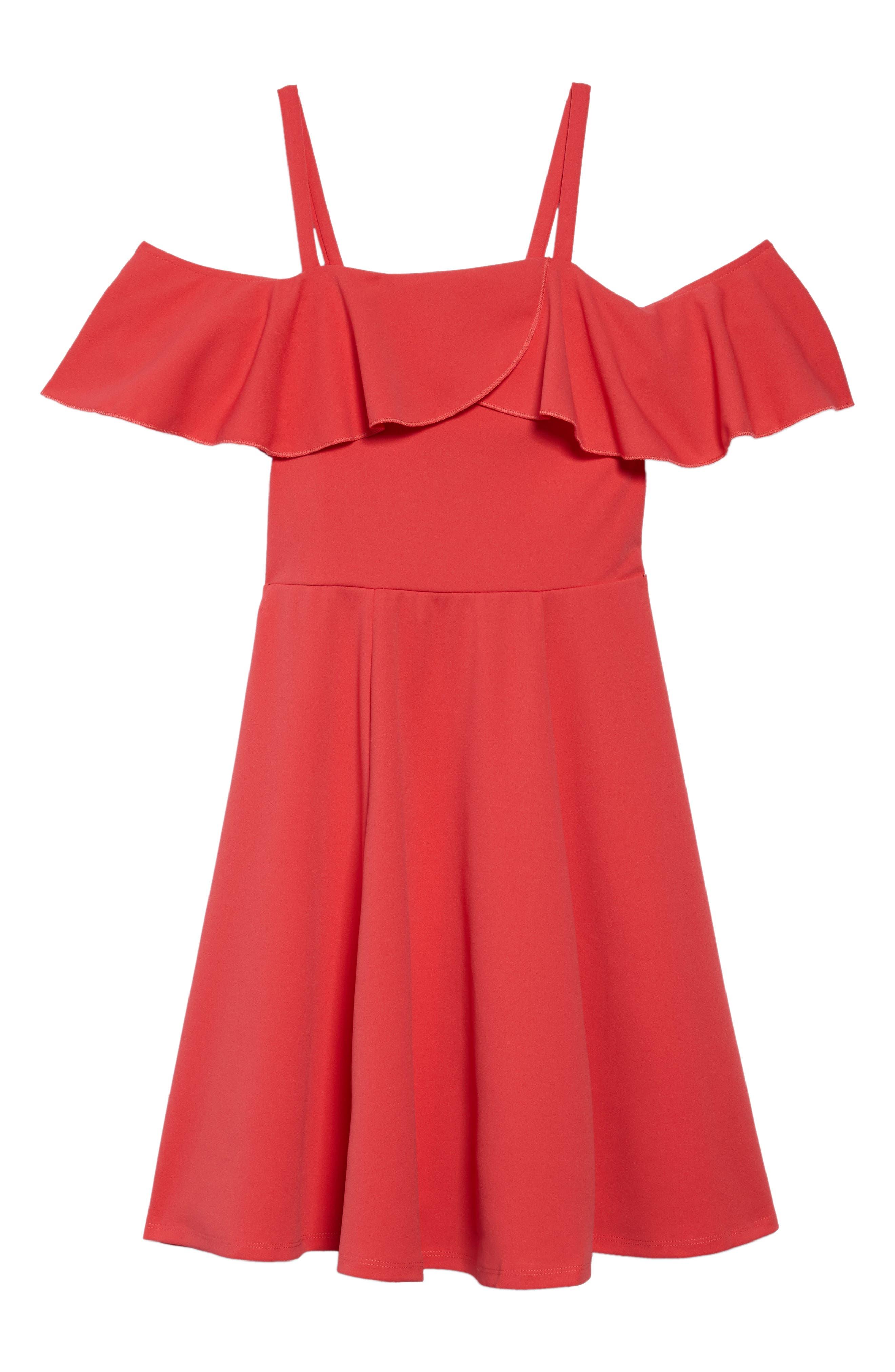 Cold Shoulder Skater Dress,                             Main thumbnail 1, color,                             Coral