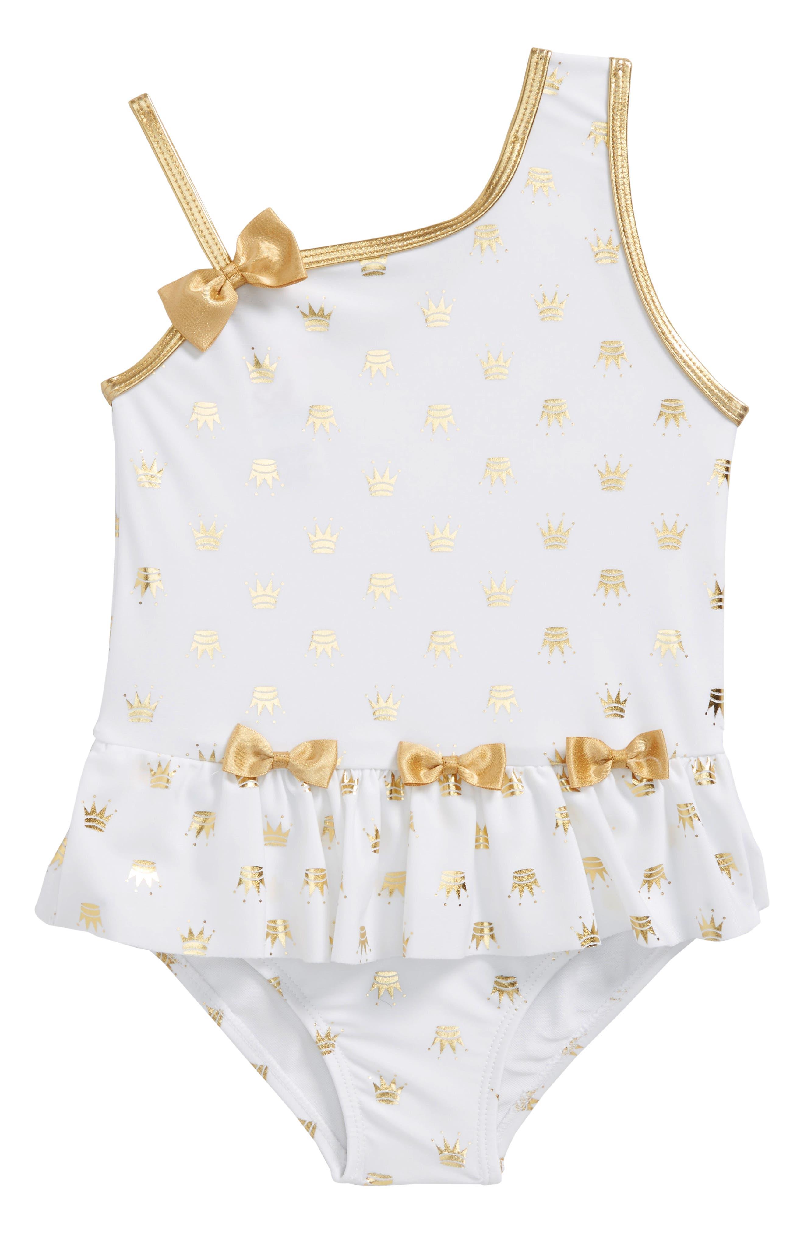 Sol Swim Gold Princess One-Piece Swimsuit (Toddler Girls & Little Girls)