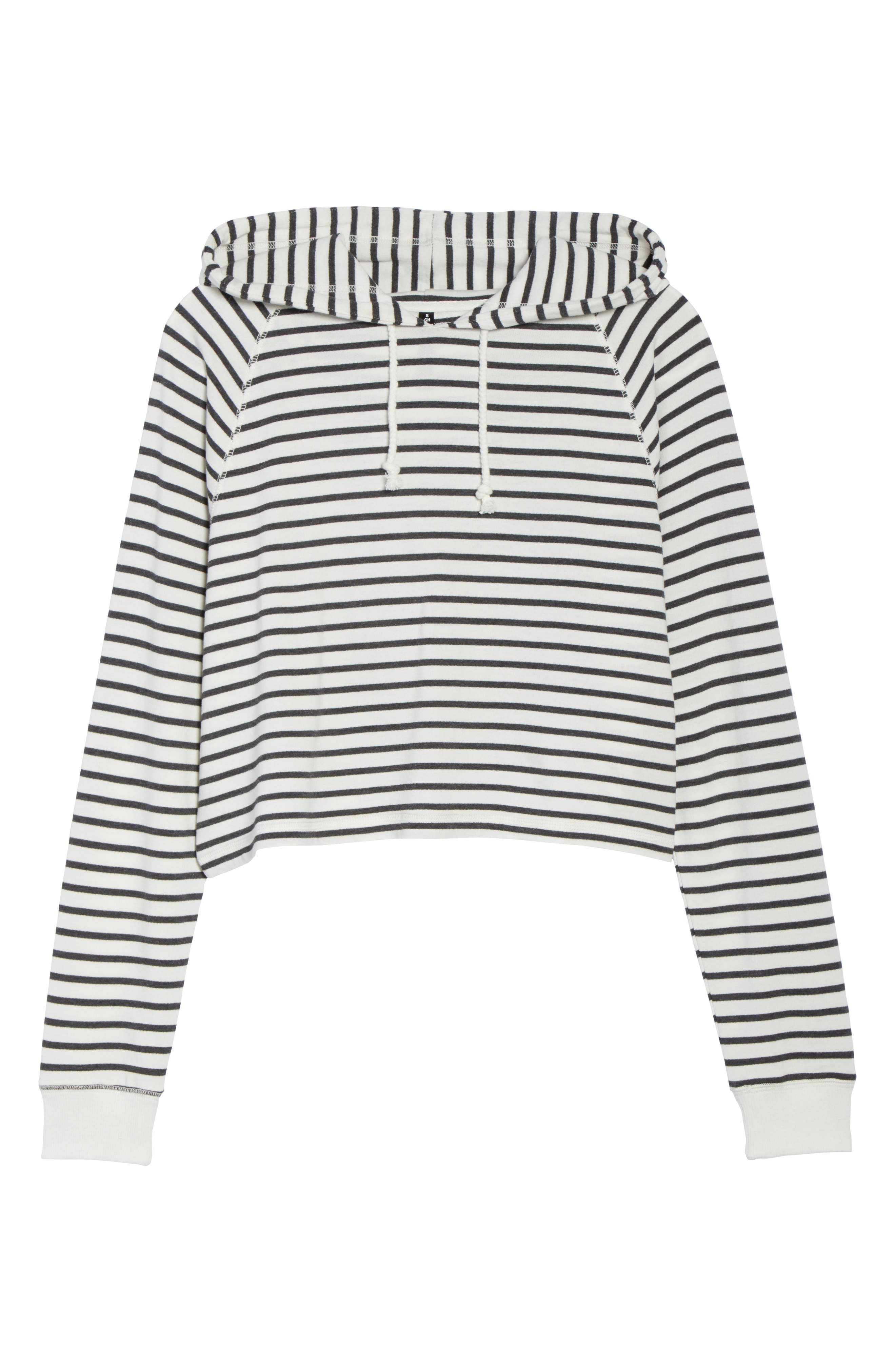 French Terry Crop Hoodie,                             Alternate thumbnail 4, color,                             Heather Black Stripe