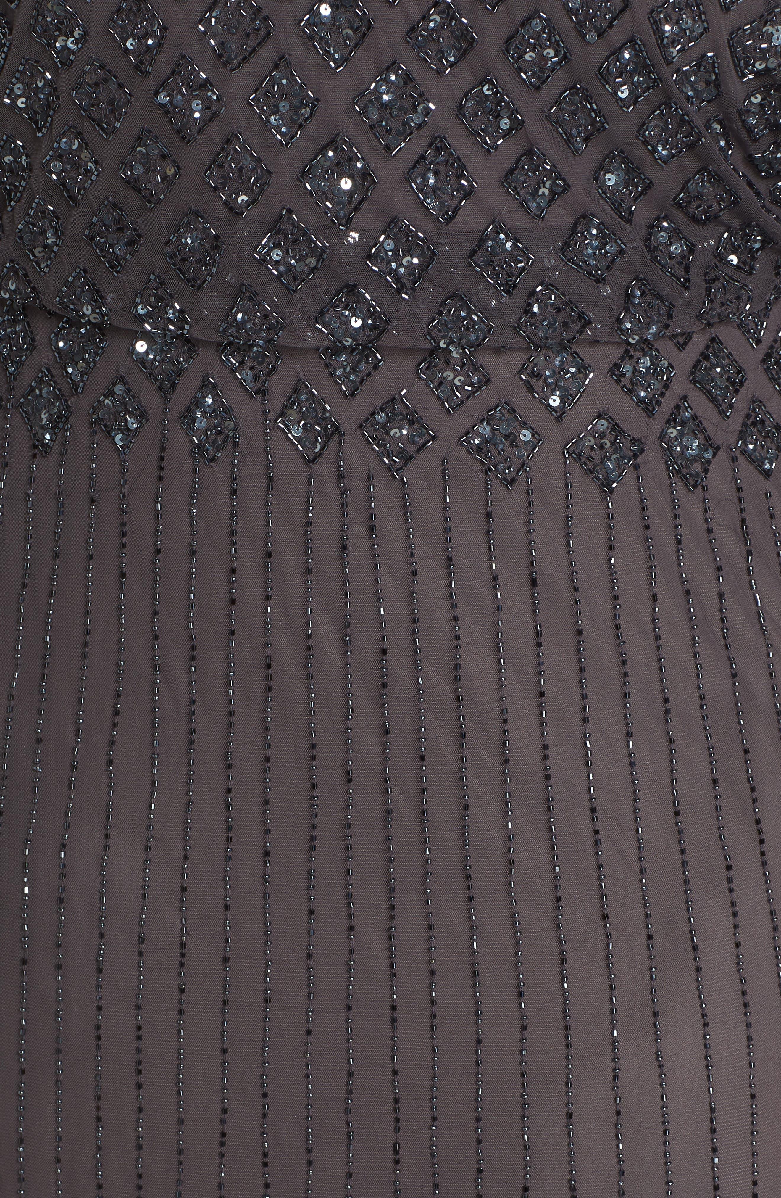 Diamond Motif Mesh Blouson Gown,                             Alternate thumbnail 4, color,                             Slate