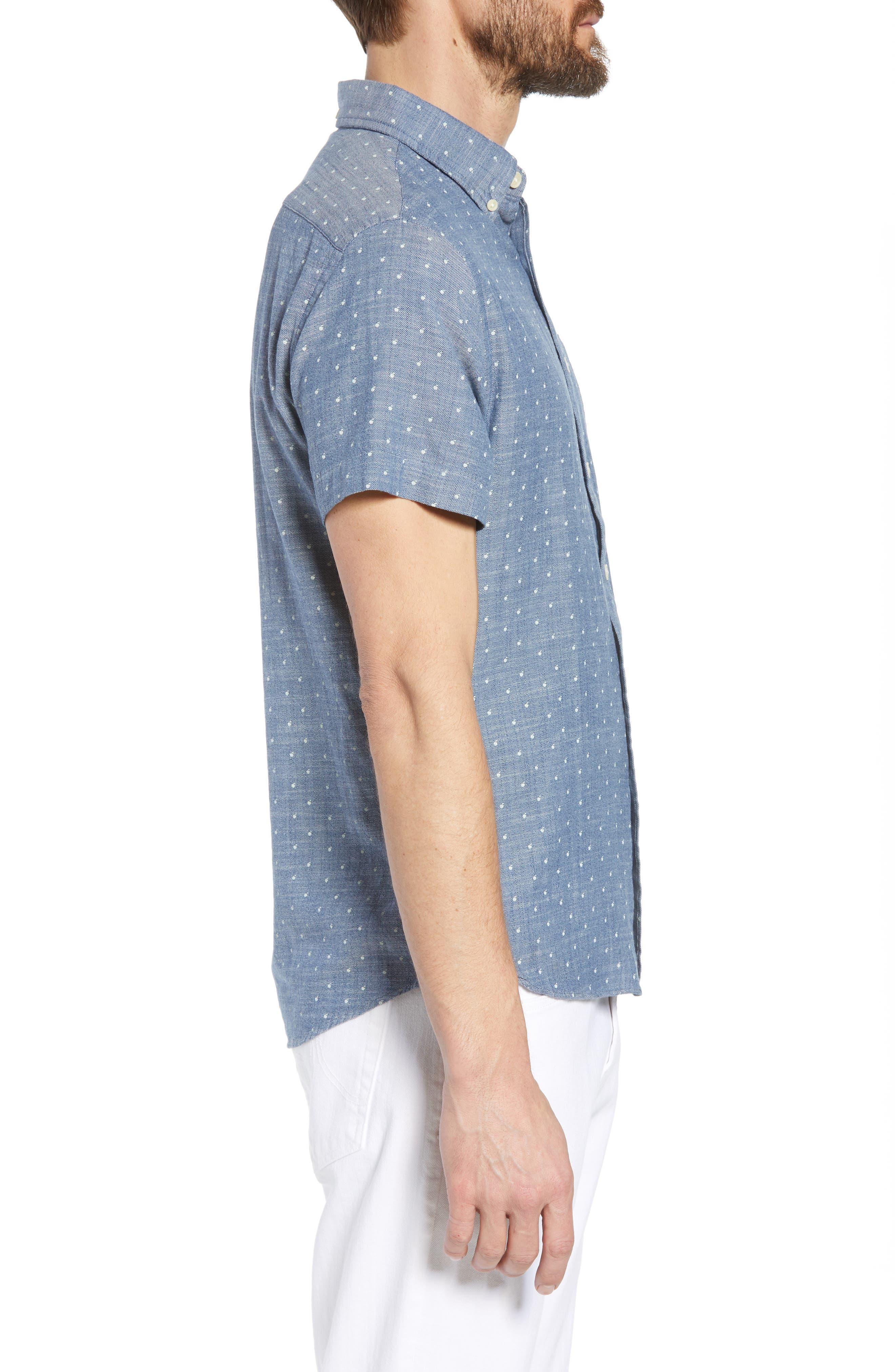 Falling Apple Slub Twill Sport Shirt,                             Alternate thumbnail 4, color,                             Blue Twill