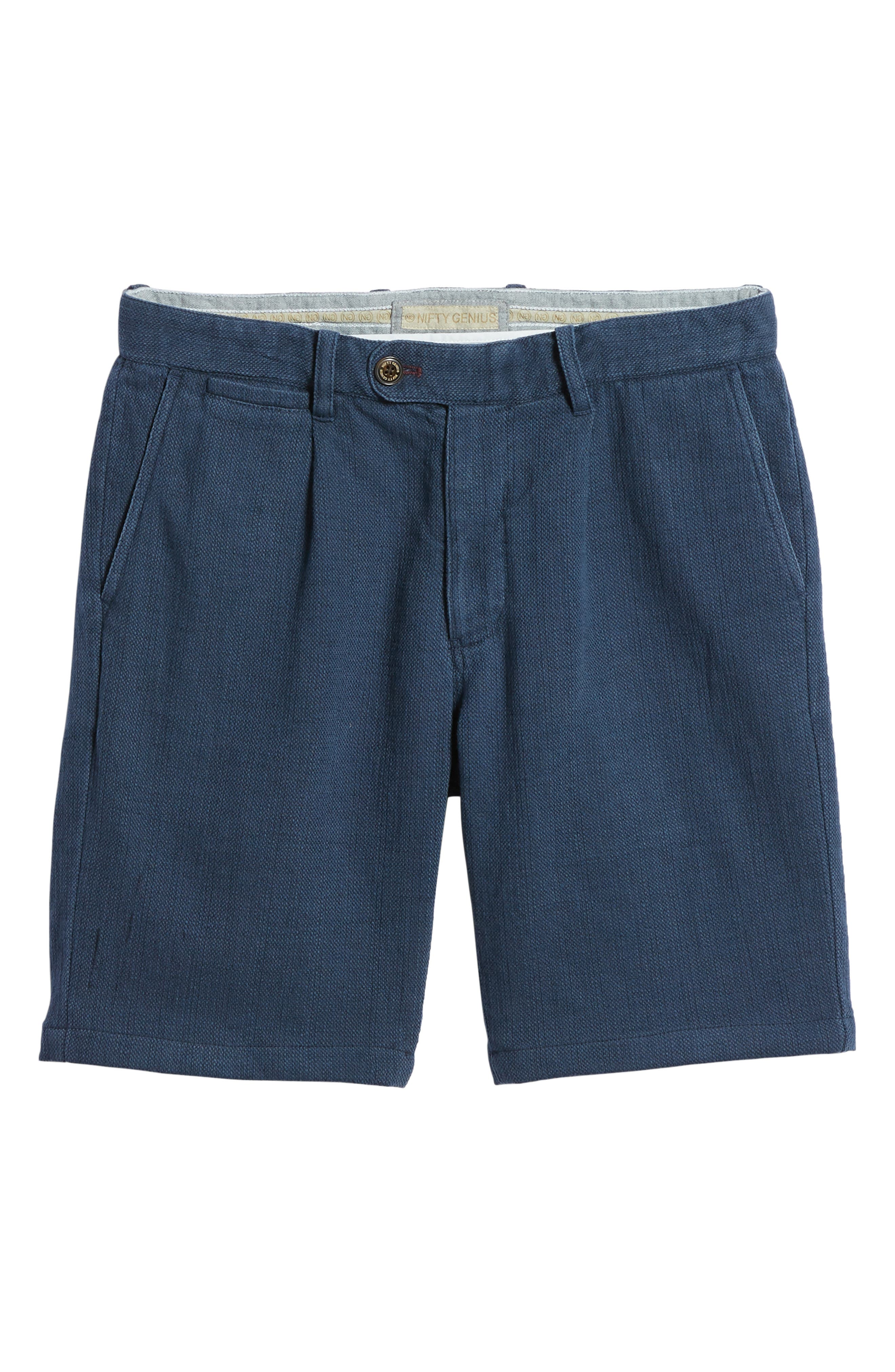Thomas Regular Fit Pleated Shorts,                             Alternate thumbnail 6, color,                             Blue