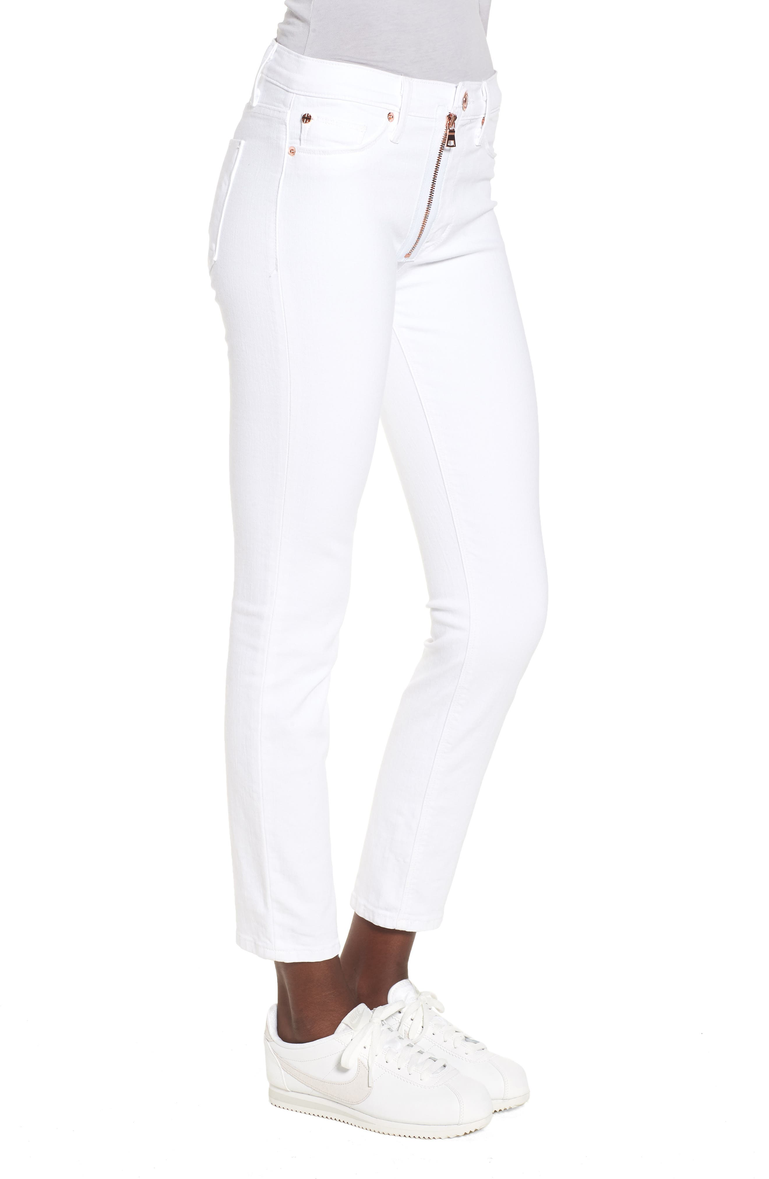 Barbara Exposed Zip High Waist Jeans,                             Alternate thumbnail 3, color,                             Optical White