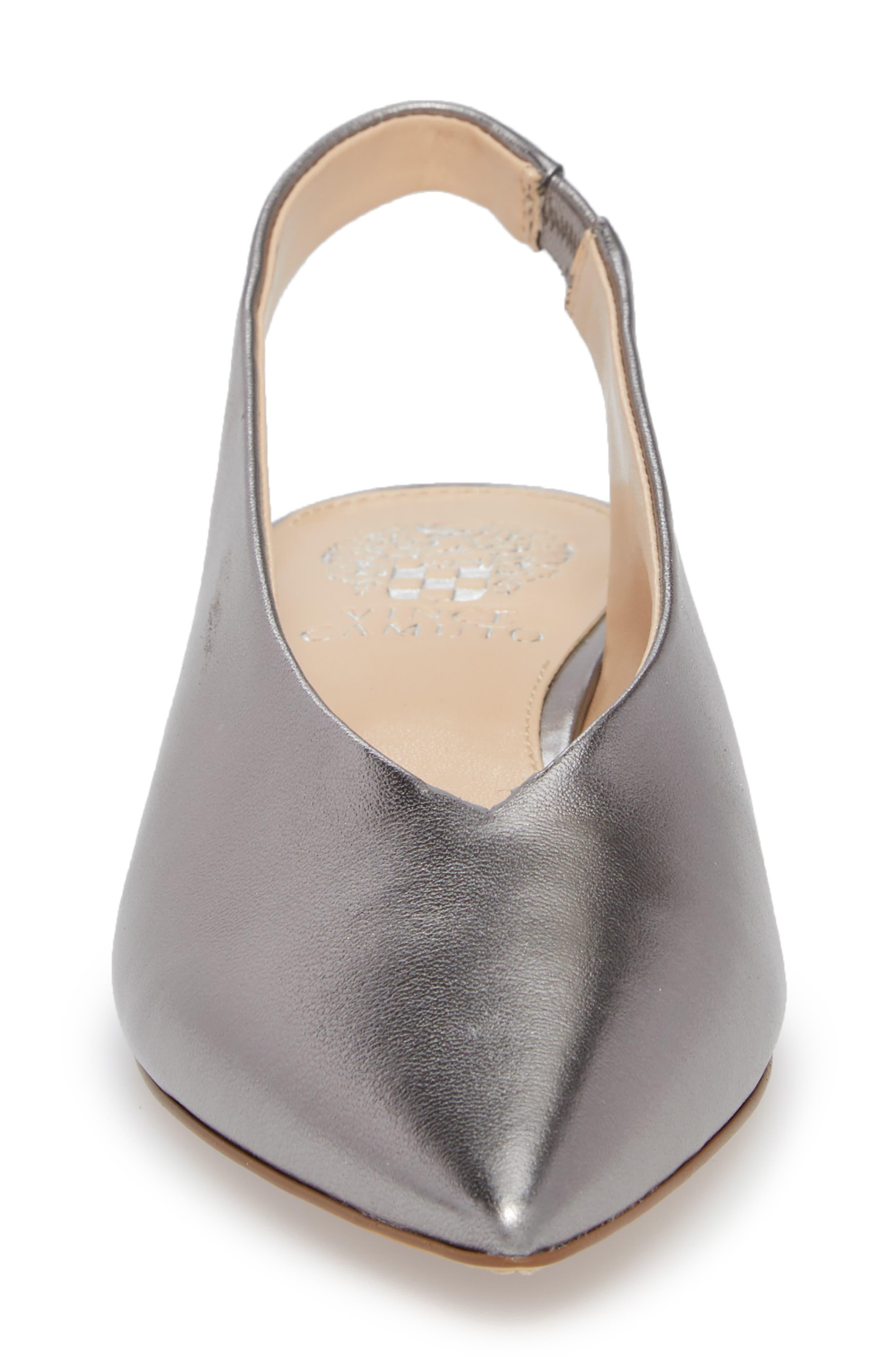 Matilda Slingback Flat,                             Alternate thumbnail 4, color,                             Radiant Silver Leather