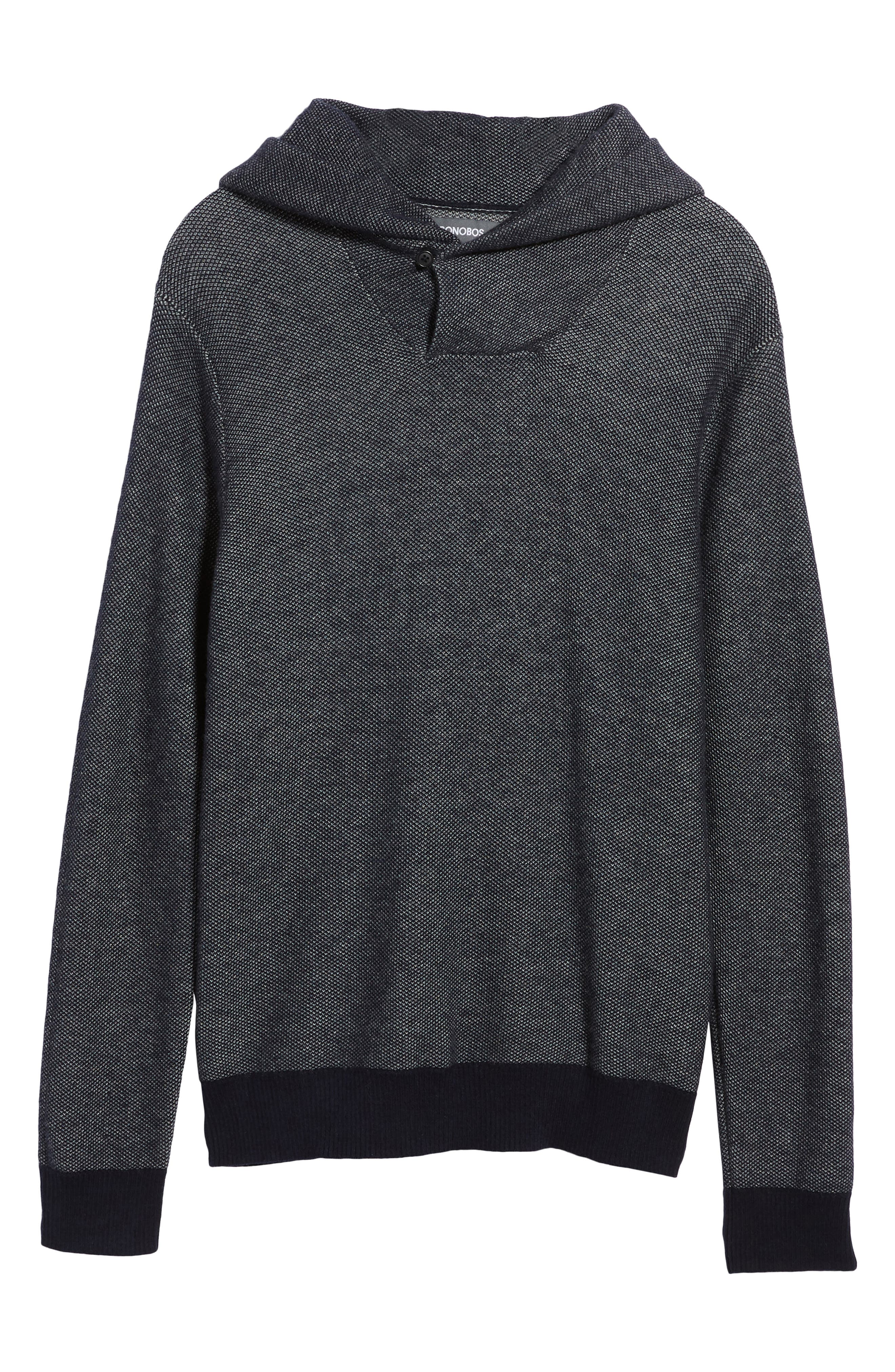 Cotton & Cashmere Hoodie,                             Alternate thumbnail 6, color,                             Midnight Blue/ Heather Silver