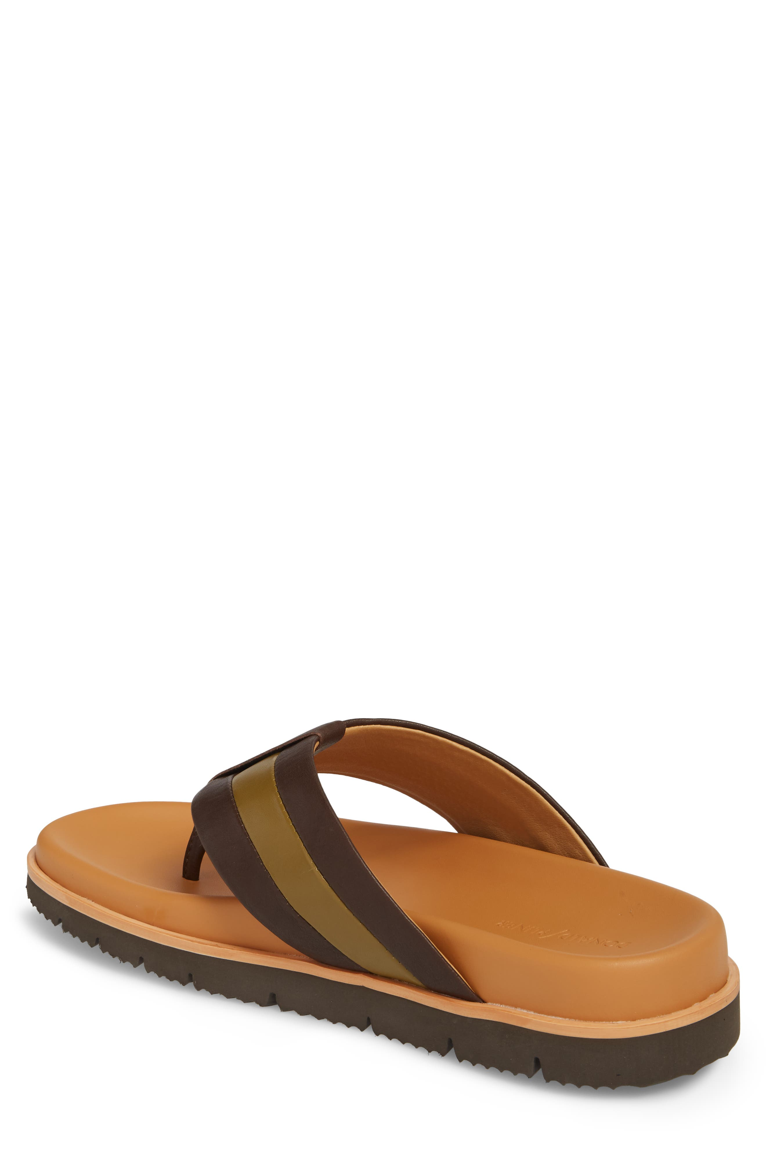 Bryce Striped Flip Flop,                             Alternate thumbnail 2, color,                             Brown/ Tan Leather