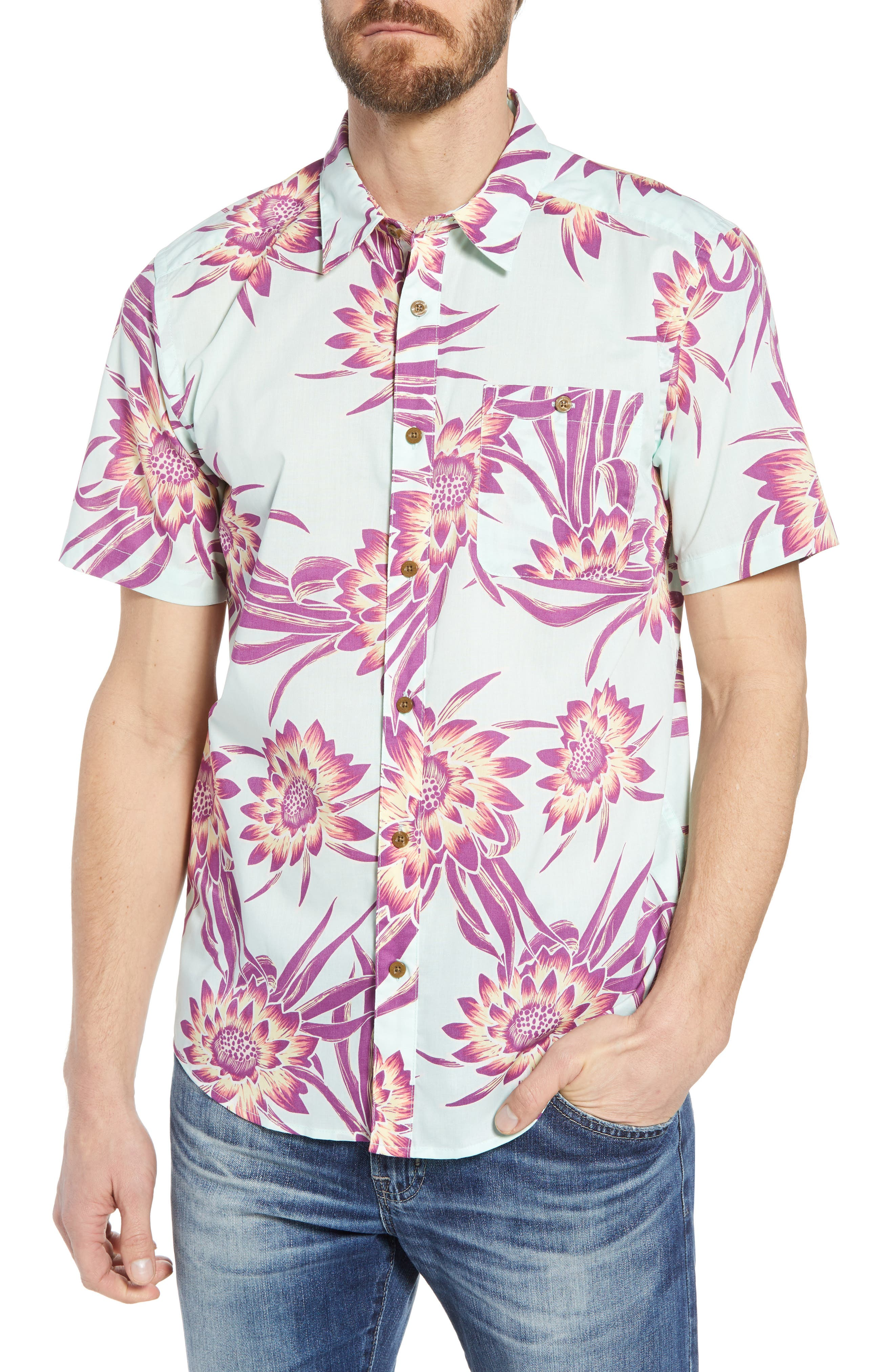 'Go To' Slim Fit Short Sleeve Sport Shirt,                         Main,                         color, Cereus Flower/ Lite Bend Blue