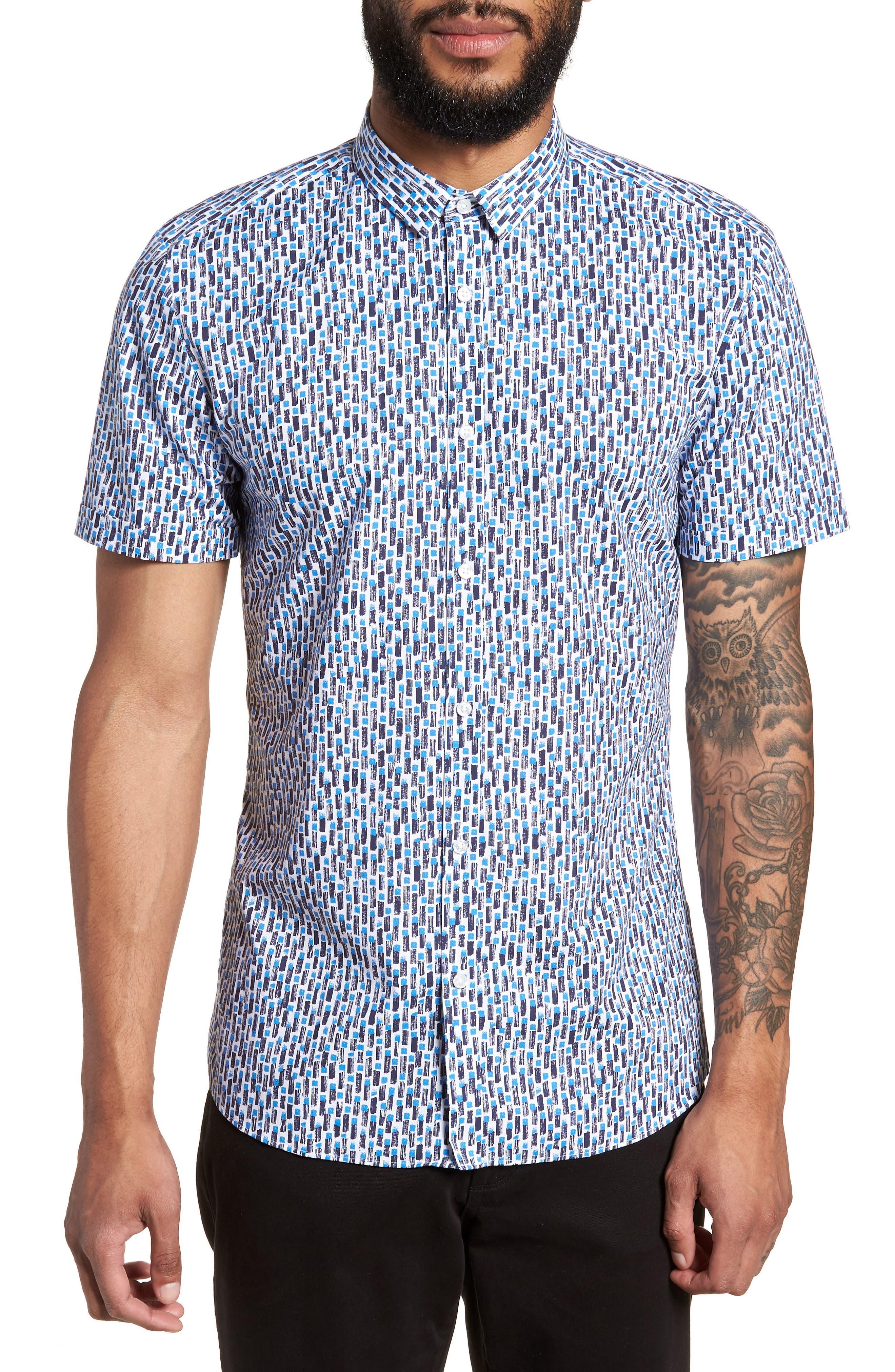 Empson Trim Fit Print Short Sleeve Sport Shirt,                         Main,                         color, Blue