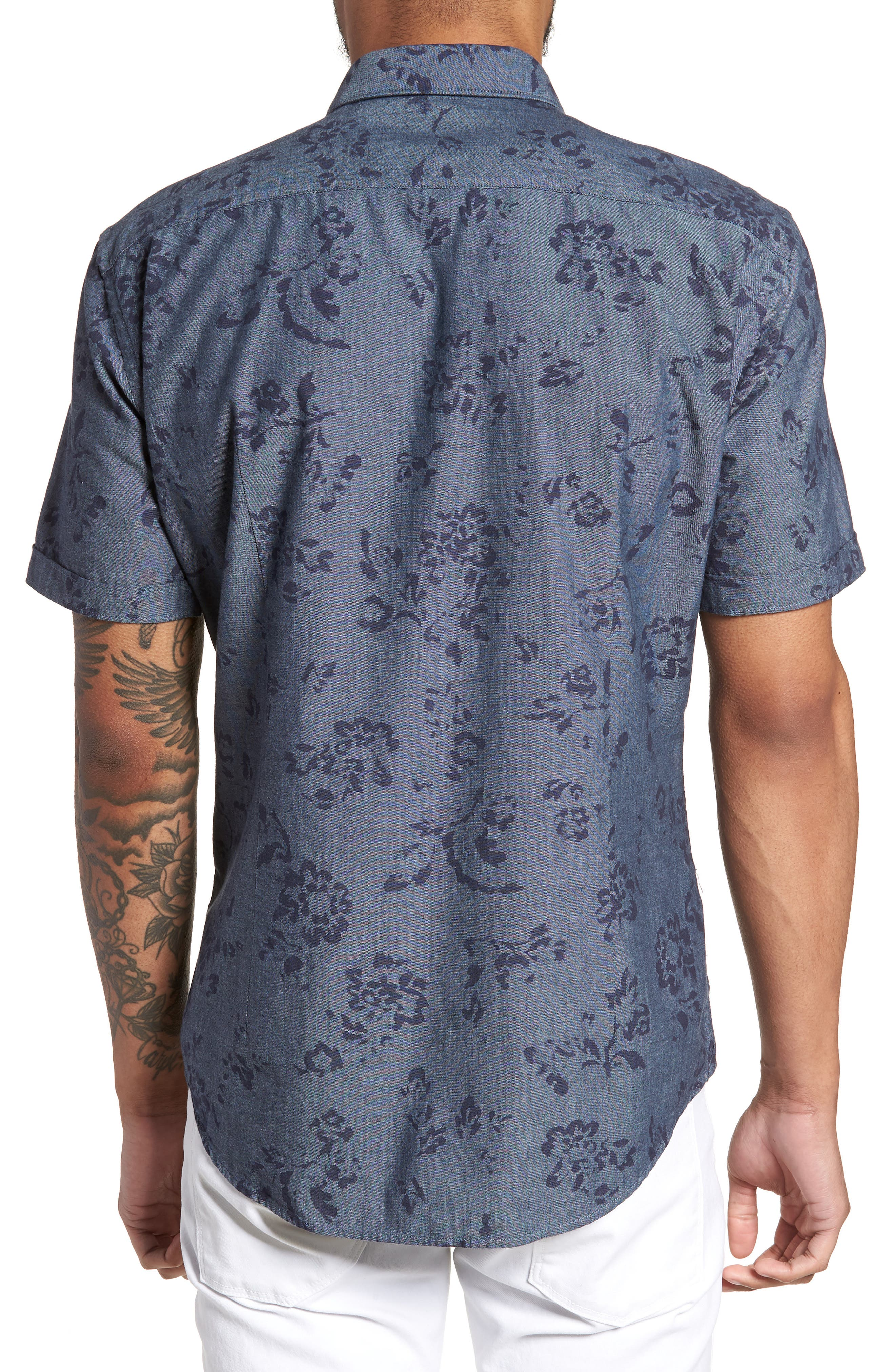 Robb Trim Fit Floral Short Sleeve Sport Shirt,                             Alternate thumbnail 2, color,                             Navy