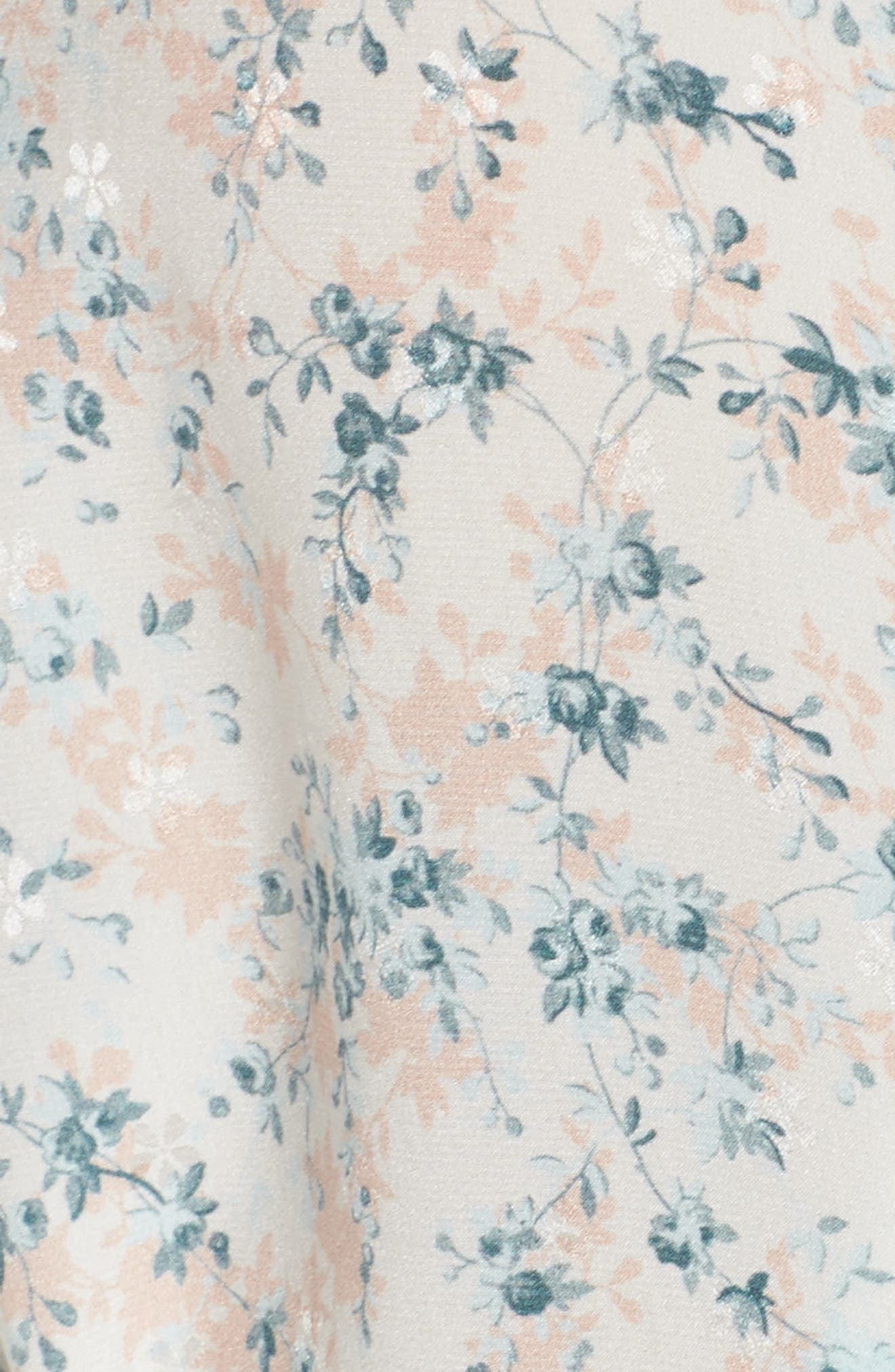 Lily Stretch Silk Short Robe,                             Alternate thumbnail 6, color,                             Ivory Floral Print