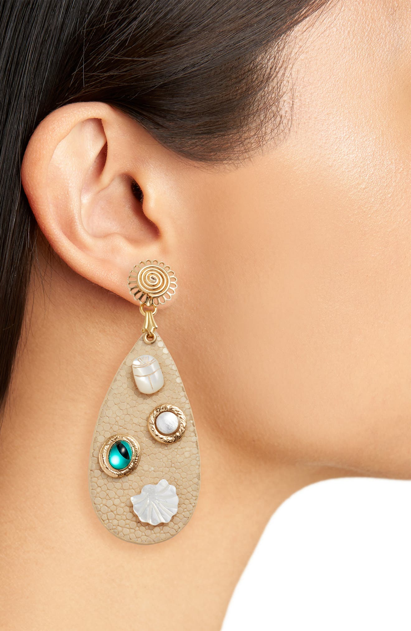 Leather Drop Earrings,                             Alternate thumbnail 2, color,                             White