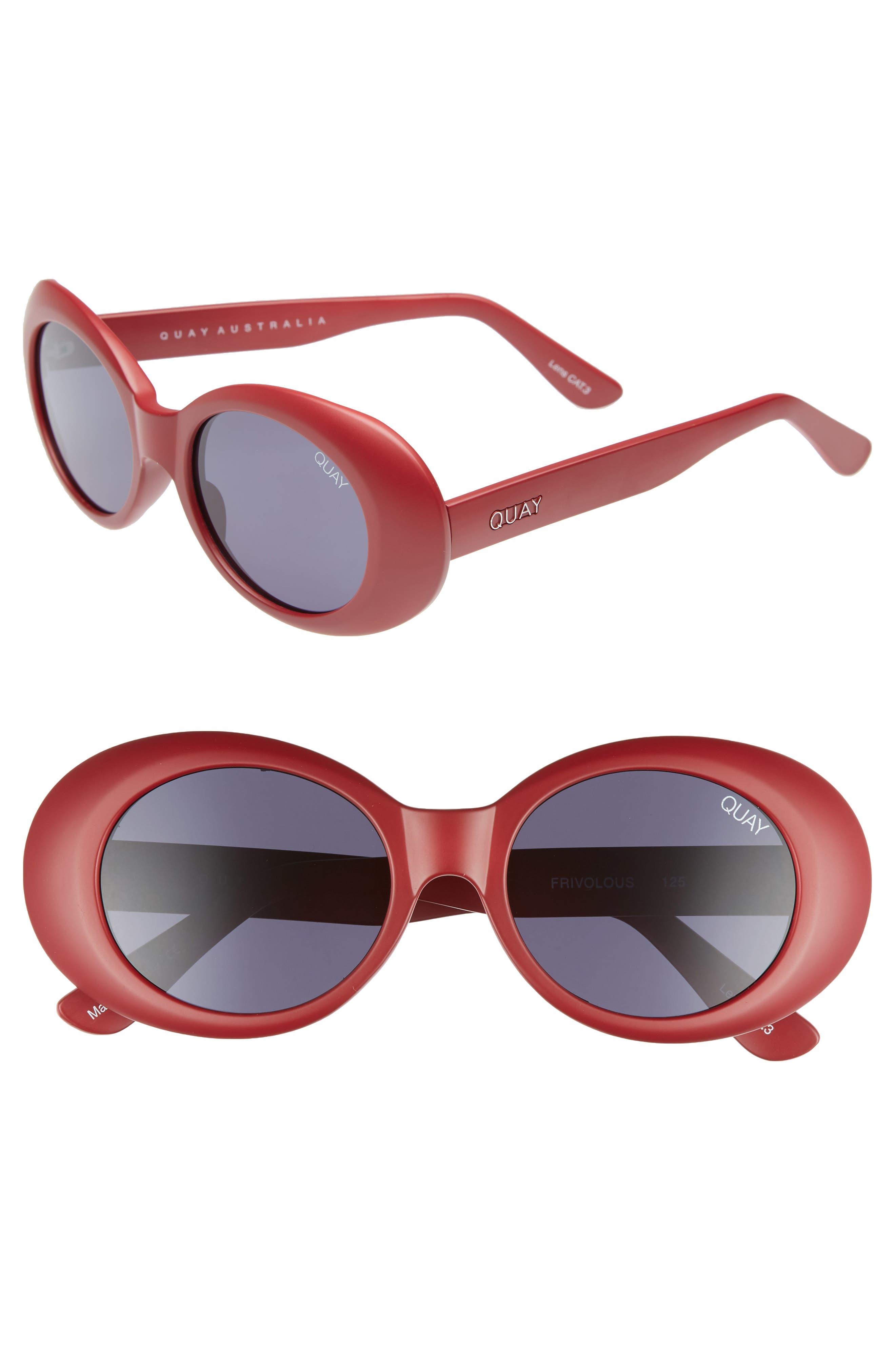 Frivolous 50mm Oval Sunglasses,                         Main,                         color, Red/ Smoke