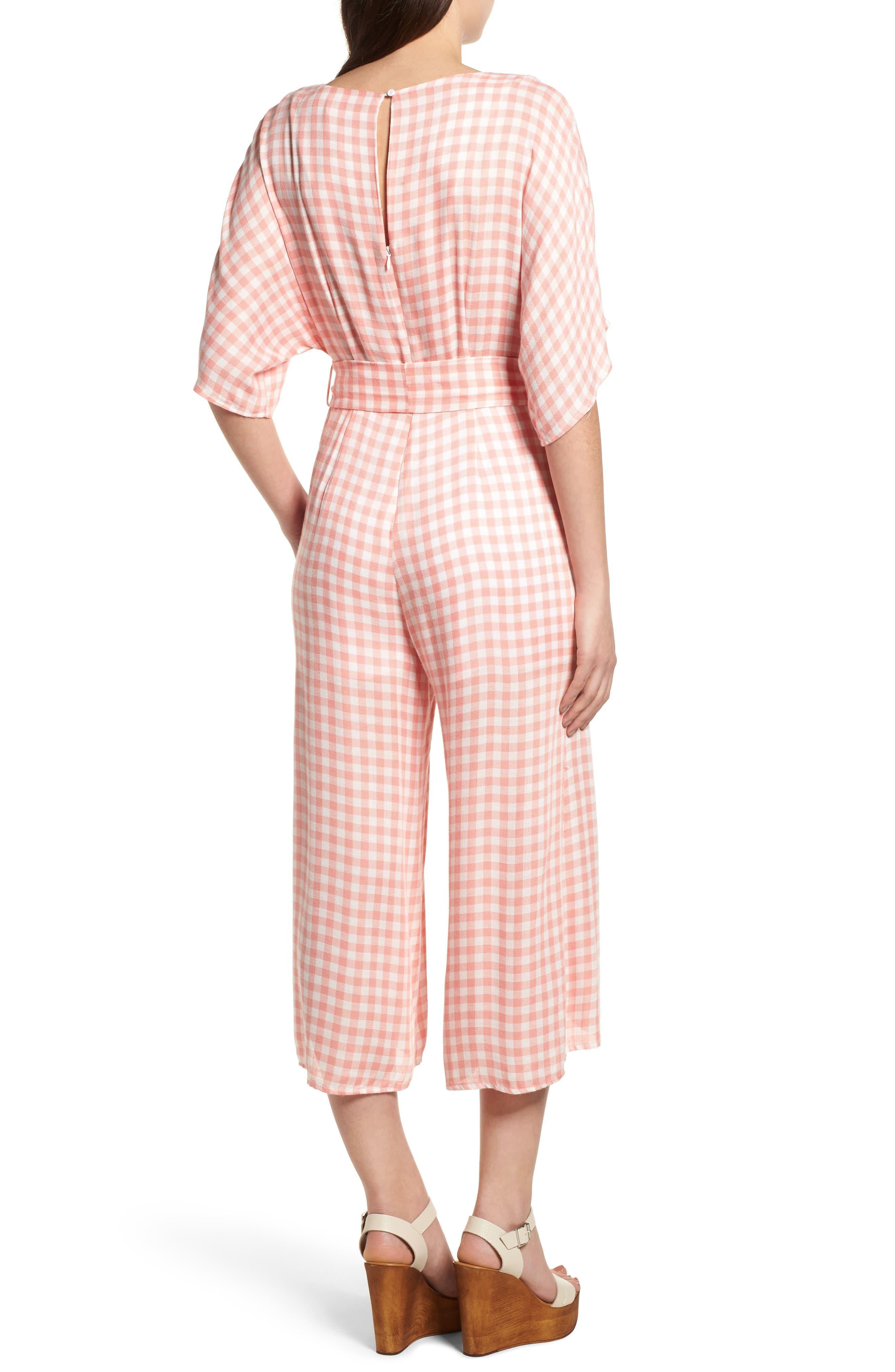 Brunch Gingham Jumpsuit,                             Alternate thumbnail 3, color,                             Grapefruit Pink