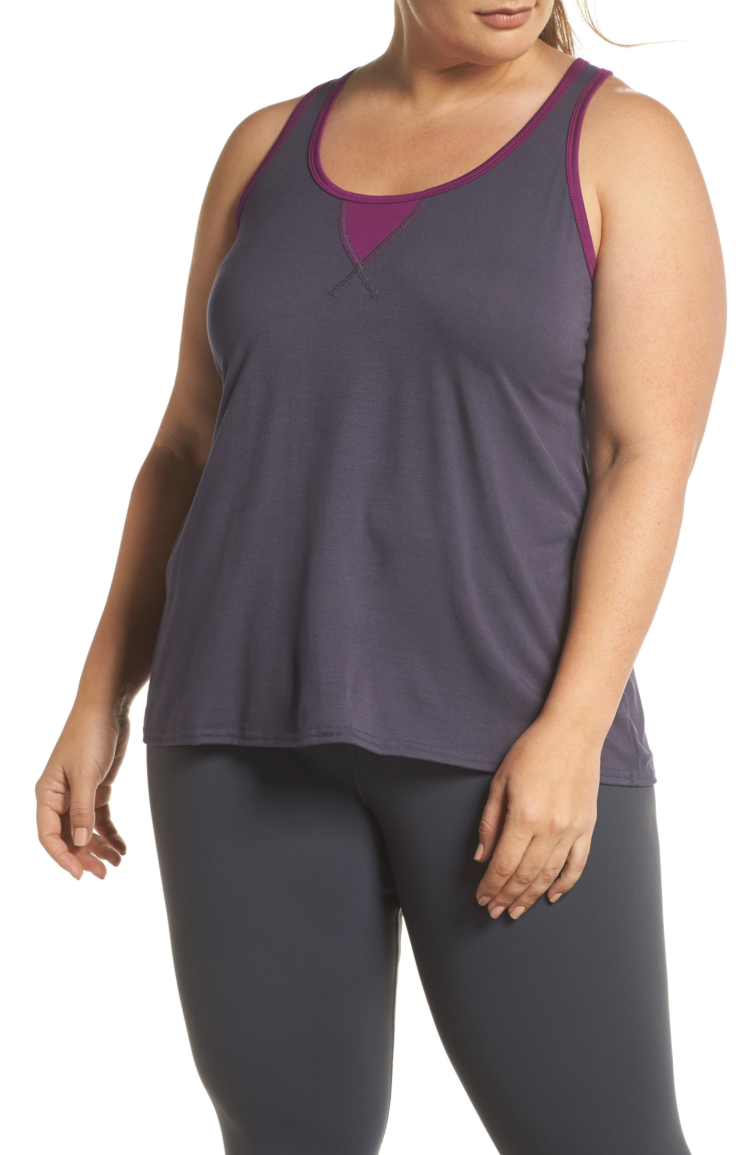 Easy Tank,                         Main,                         color, Charcoal/ Plum
