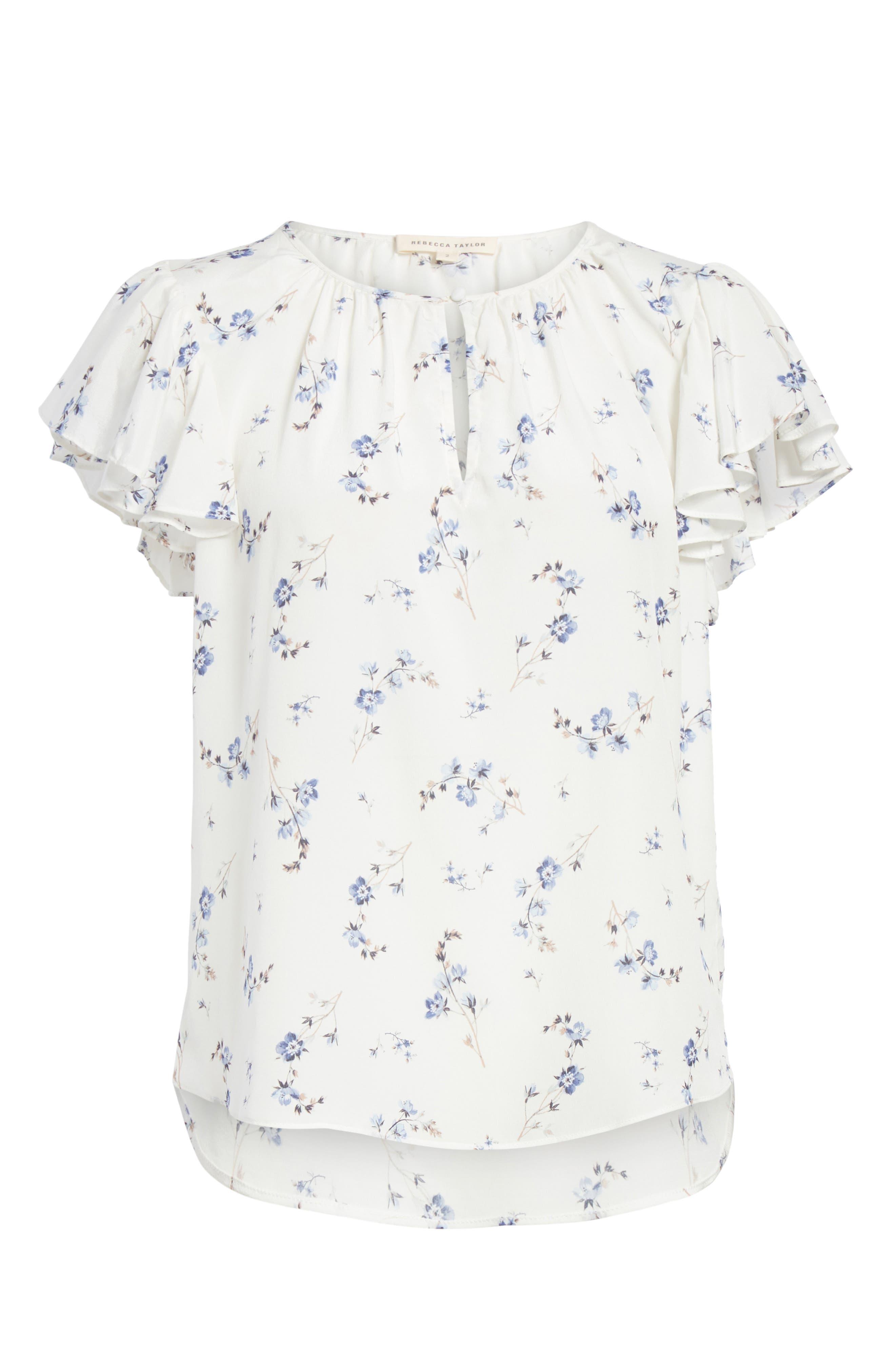 Francine Floral Silk Top,                             Alternate thumbnail 6, color,                             Snow