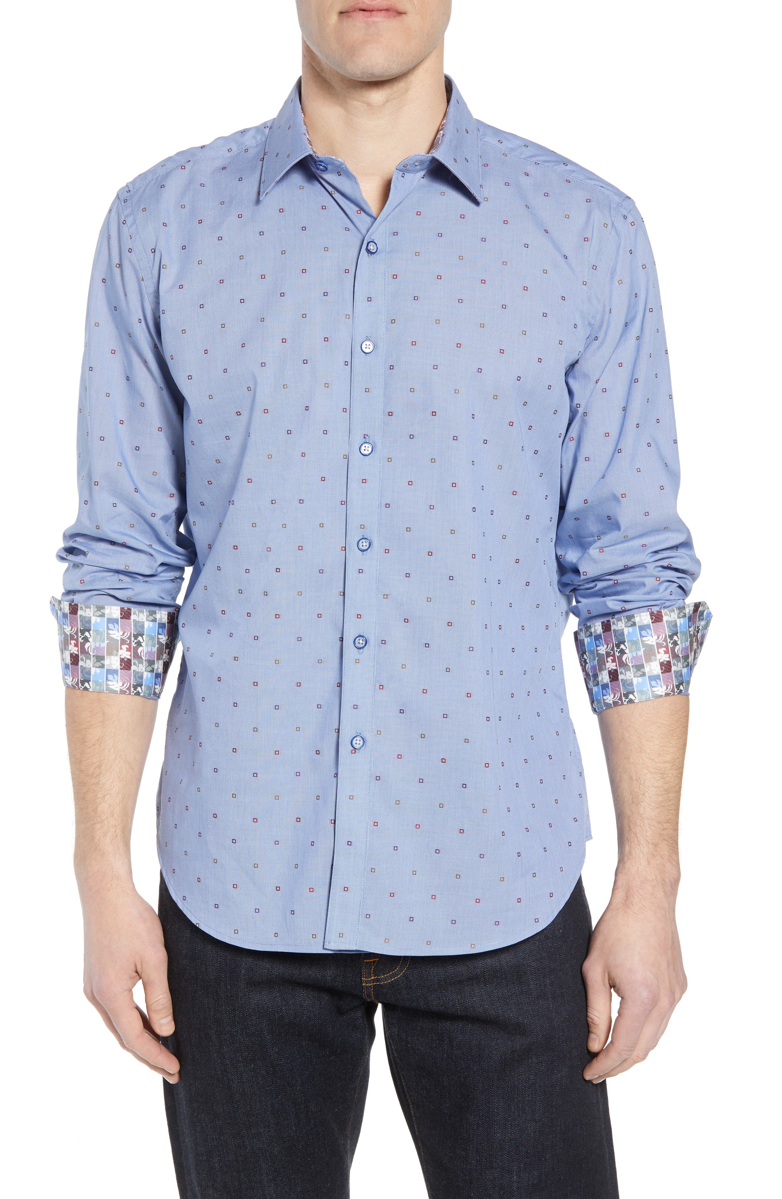 Platt Classic Fit Sport Shirt,                         Main,                         color, Blue
