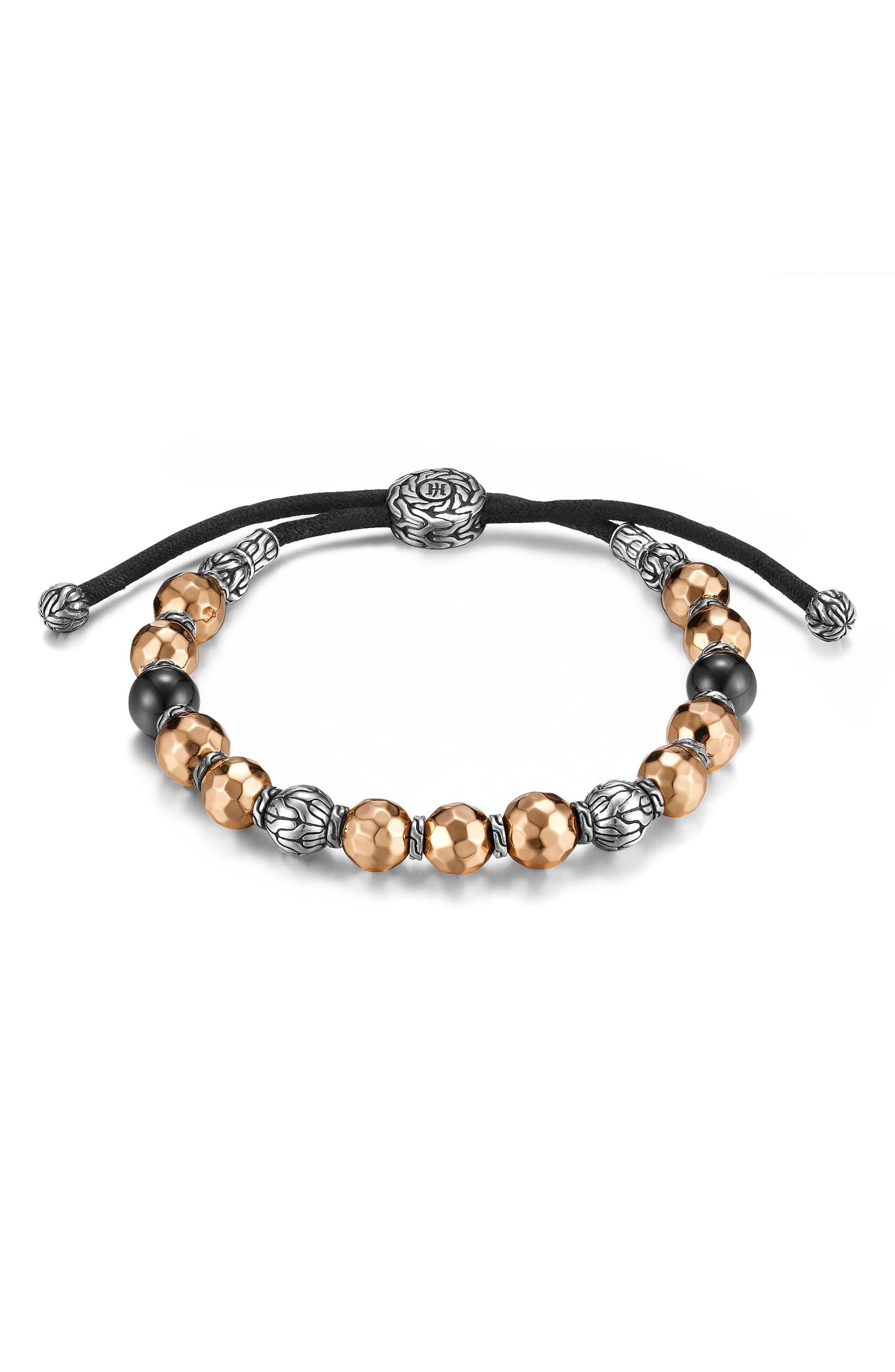 Men's Hammered Bead Bracelet,                             Main thumbnail 1, color,                             Silver/ Black Tourmaline