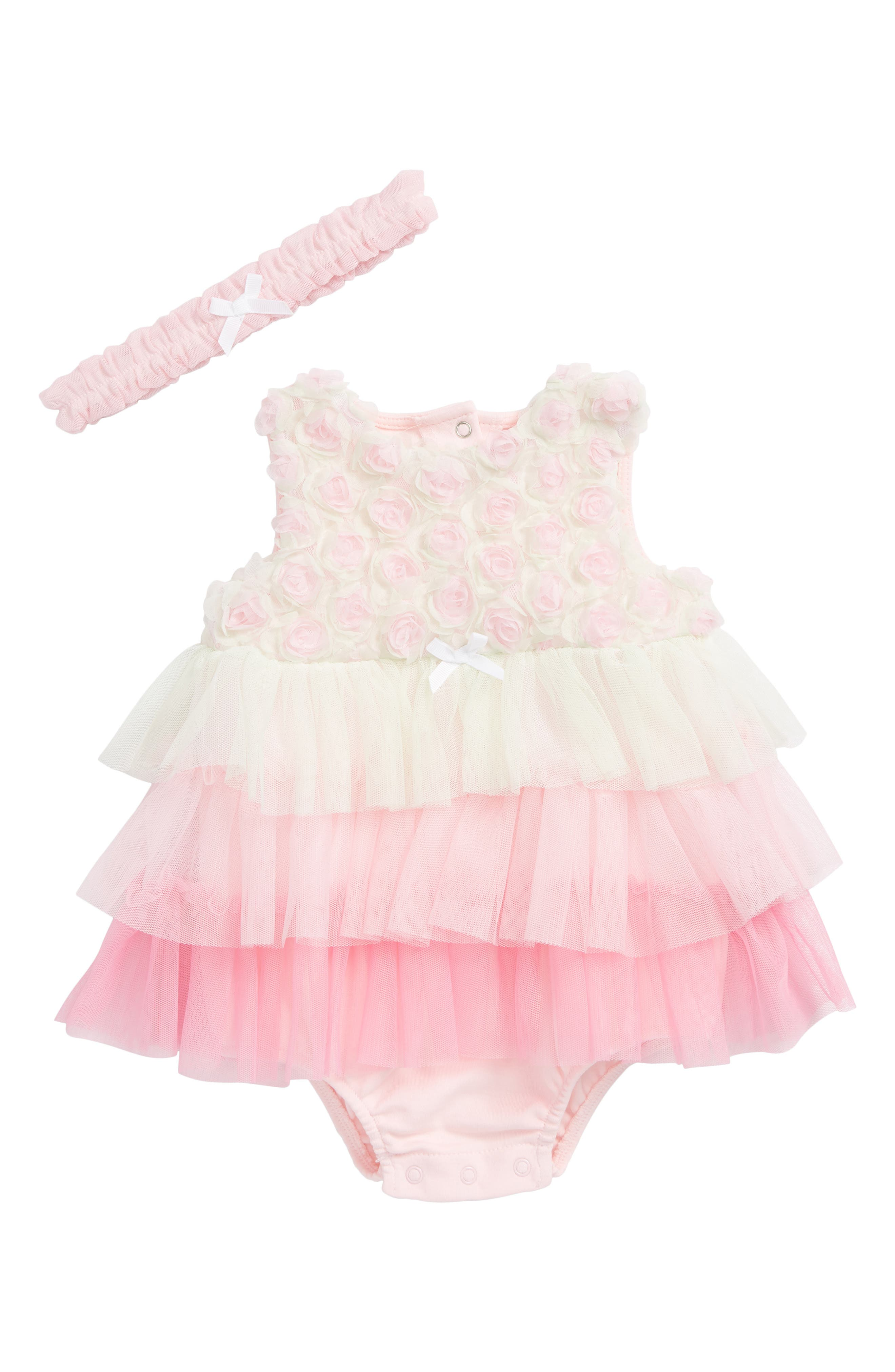 Rosette Popover Bodysuit & Head Wrap Set,                             Main thumbnail 1, color,                             Pink Multi