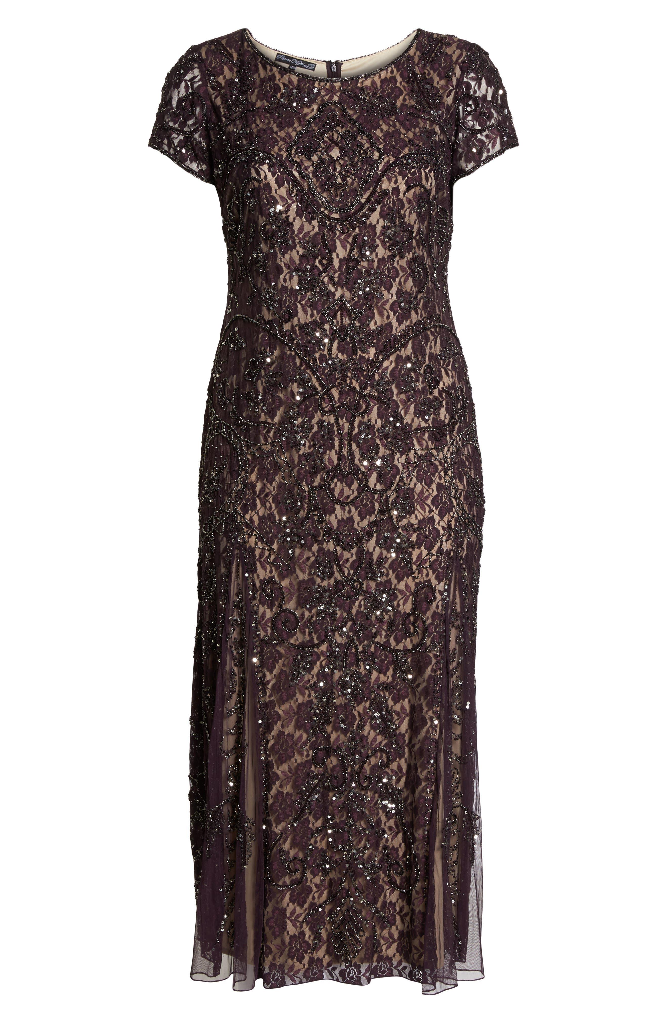 Embellished Lace A-Line Dress,                             Alternate thumbnail 6, color,                             Plum