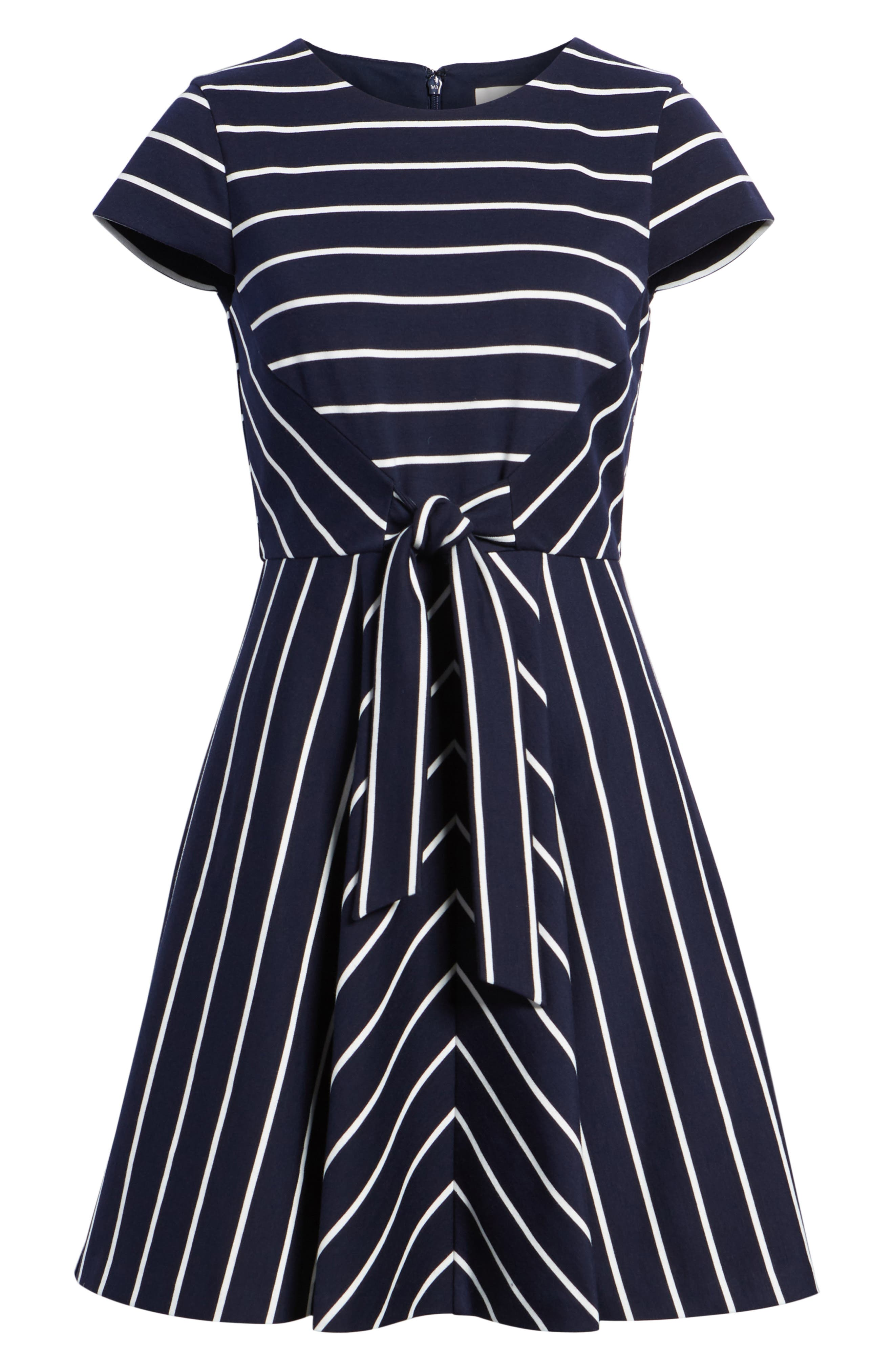 Stripe Ponte Fit & Flare Dress,                             Alternate thumbnail 7, color,                             Navy- White Stripe