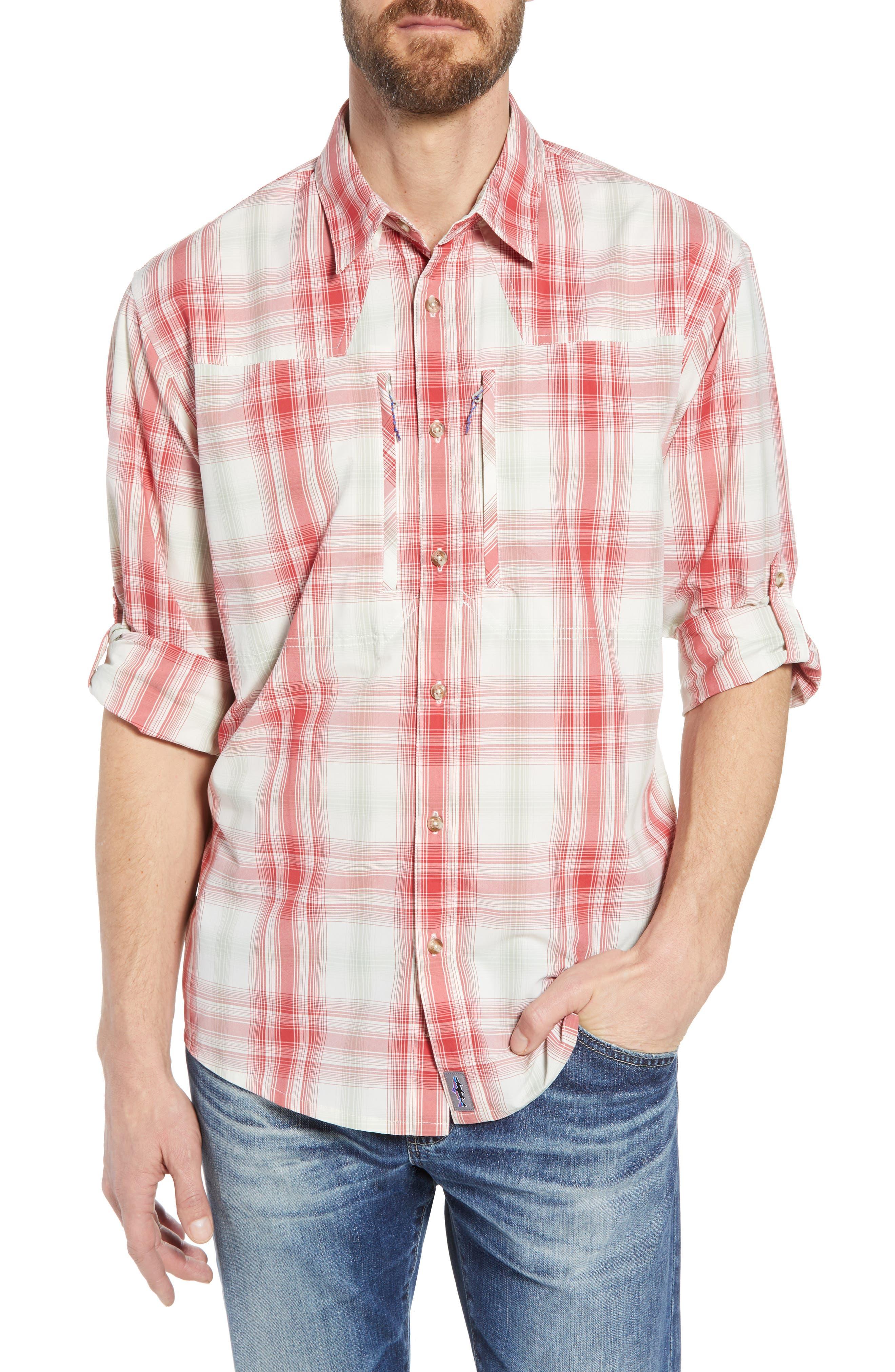Regular Fit Plaid Sport Shirt,                         Main,                         color, King Swing/ Static Red