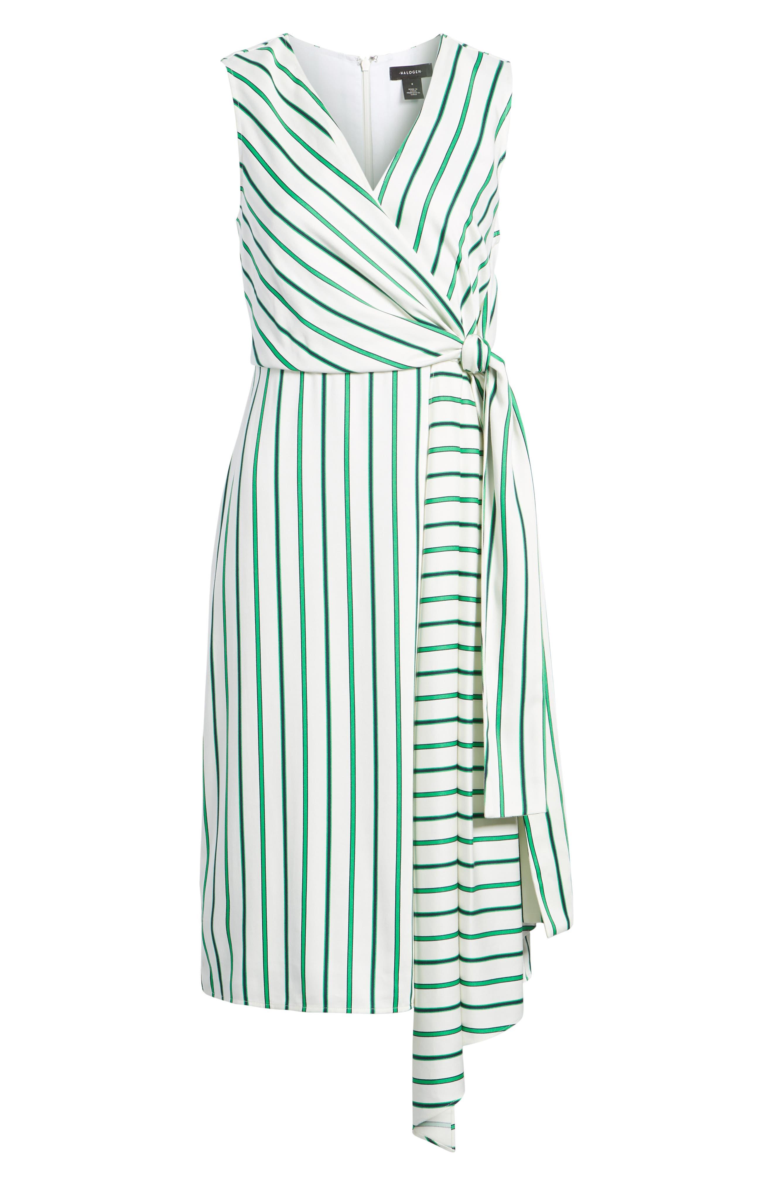 Draped Faux Wrap Dress,                             Alternate thumbnail 6, color,                             Ivory- Green Stripe