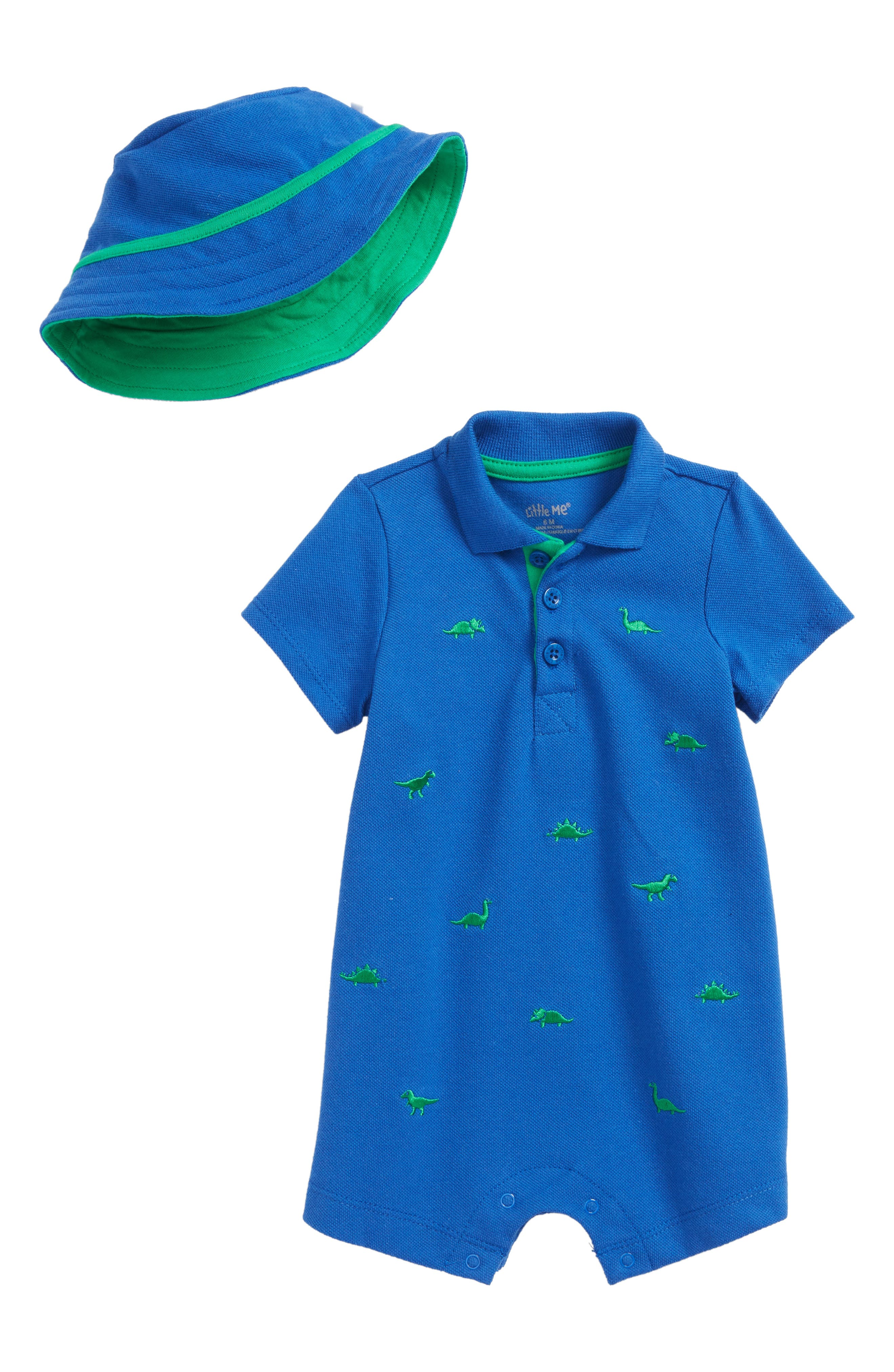 Embroidered Dino Romper & Hat Set,                             Main thumbnail 1, color,                             Blue